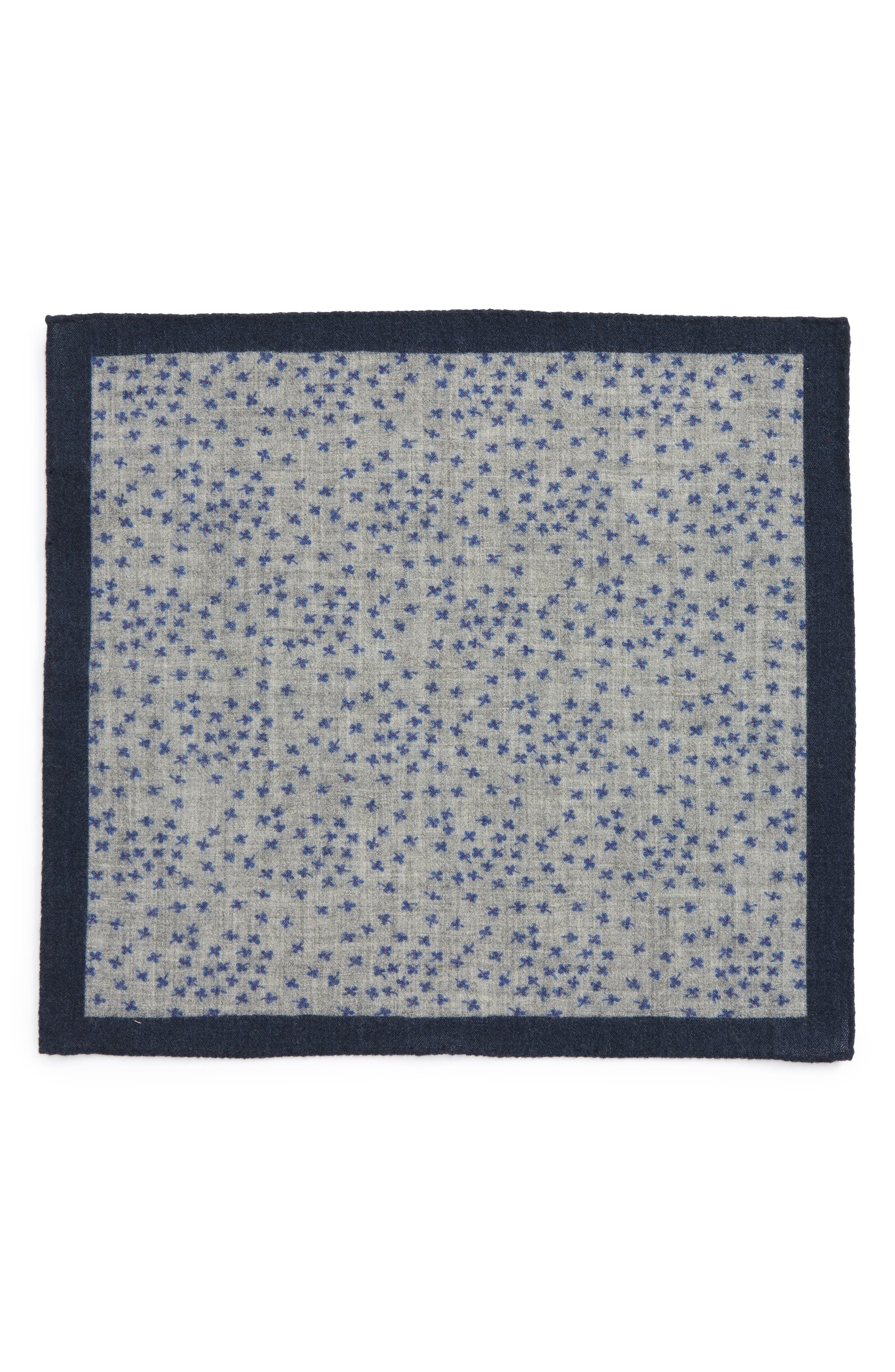 Patterned Wool Pocket Square,                             Alternate thumbnail 2, color,                             Floral Grey