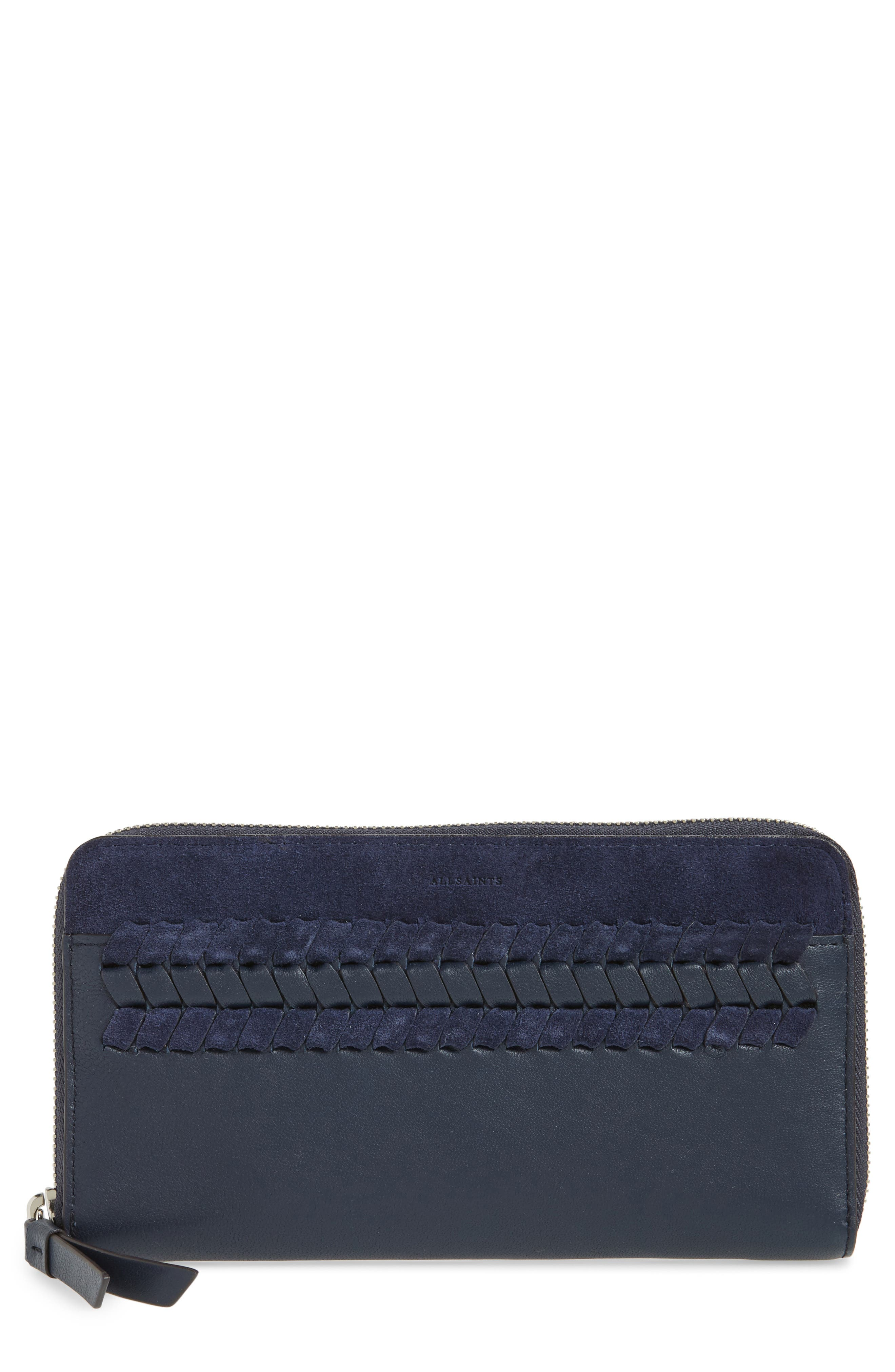 Alternate Image 1 Selected - ALLSAINTS Ray Whip Leather & Suede Wallet