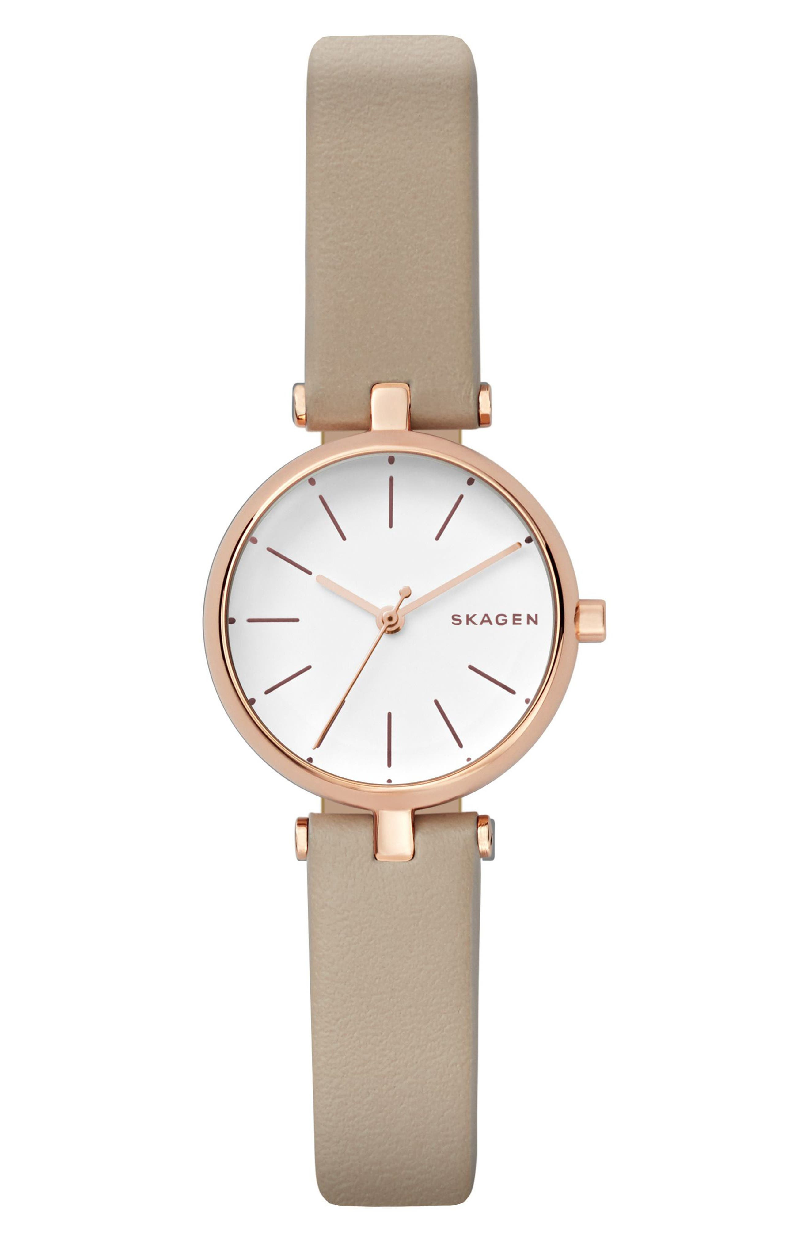 Signatur Leather Strap Watch, 26mm,                         Main,                         color, Nude/ White/ Rose Gold