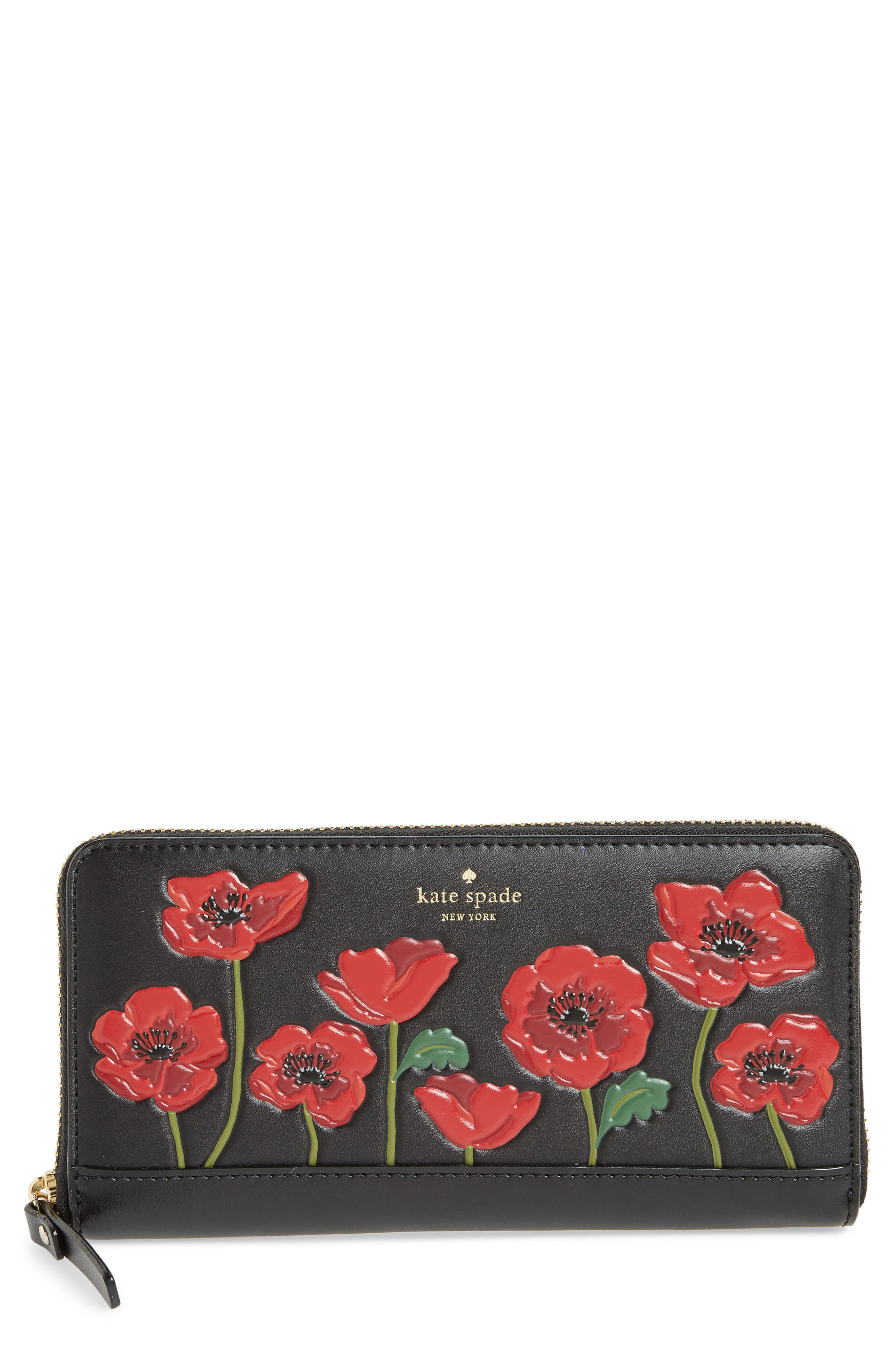 ooh la la - lacey poppy embossed leather wallet,                         Main,                         color, Multi
