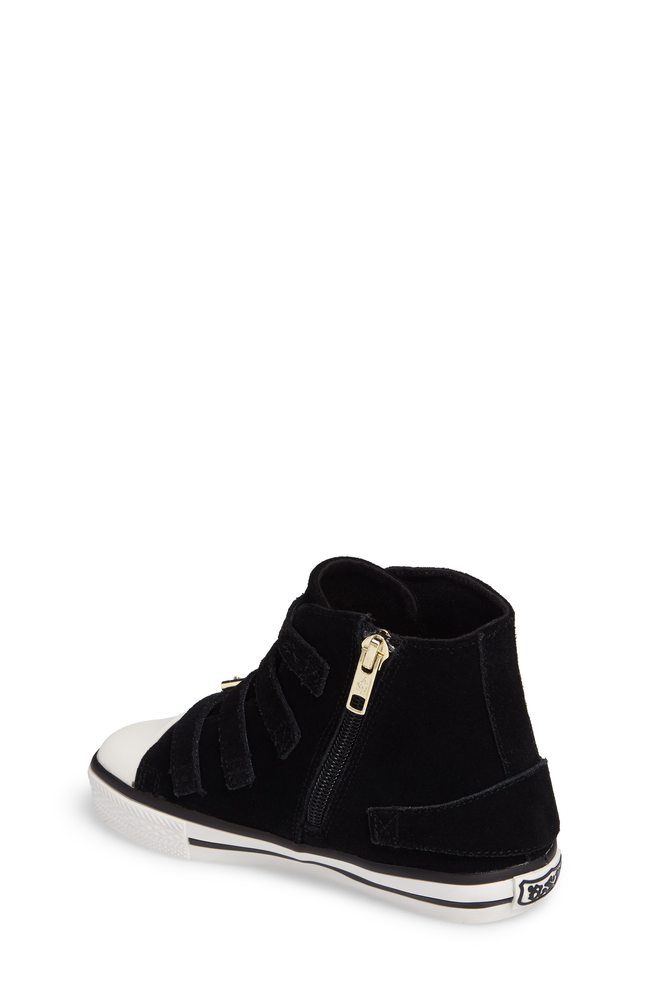 Vava Flowers Embroidered High Top Sneaker,                             Alternate thumbnail 2, color,                             Black Suede