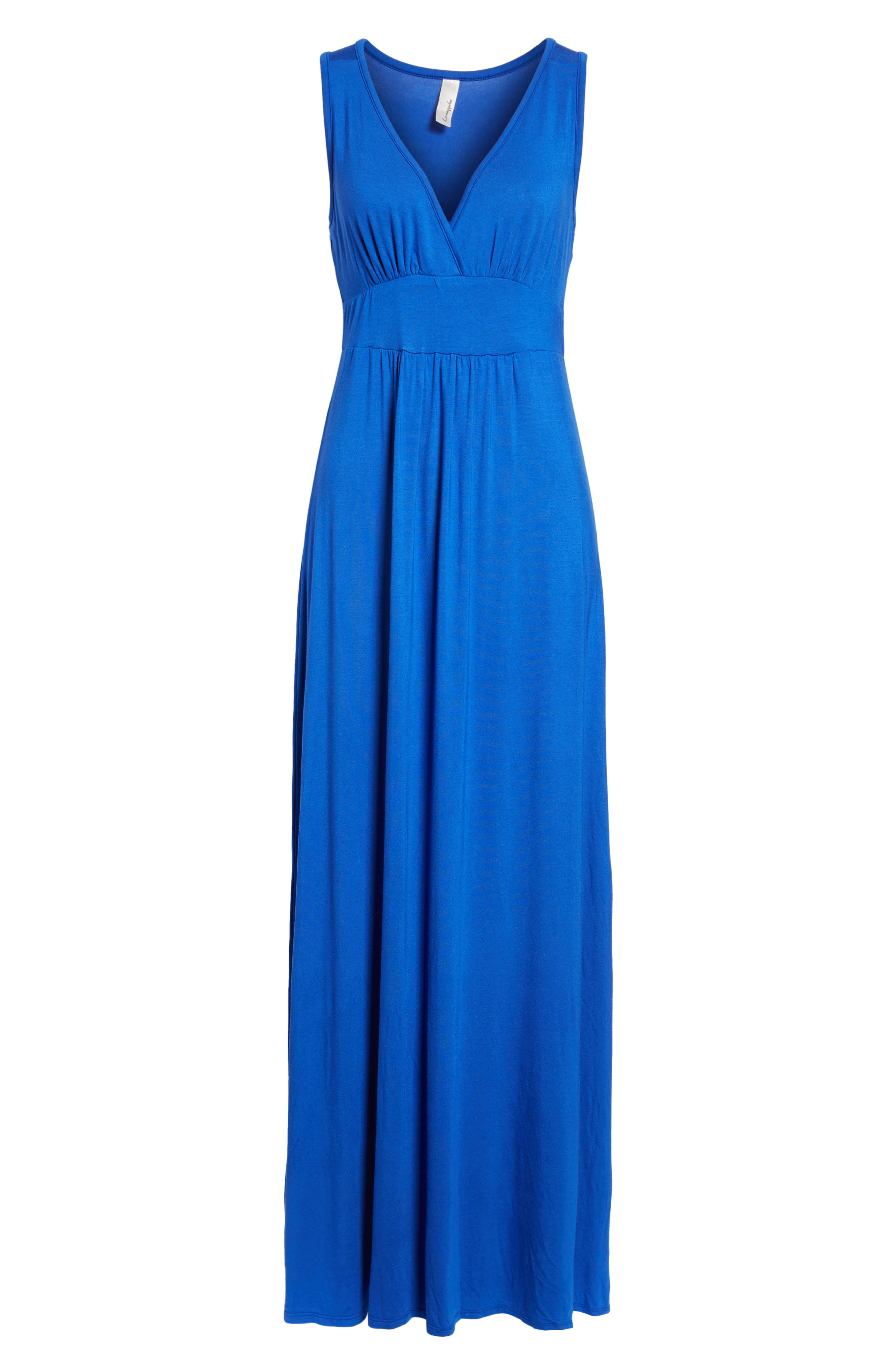 V-Neck Jersey Maxi Dress,                         Main,                         color, Blue Mazarine