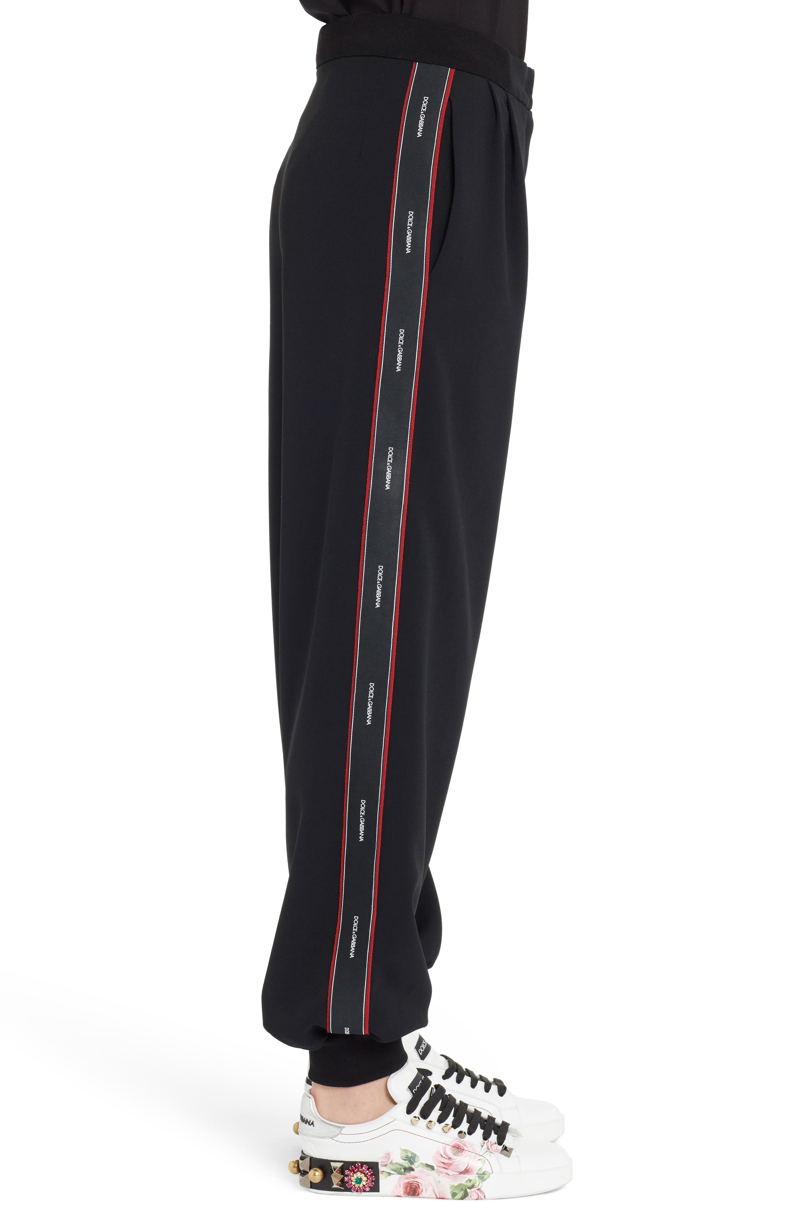 Logo Stripe Cady Joggers,                             Alternate thumbnail 3, color,                             Black
