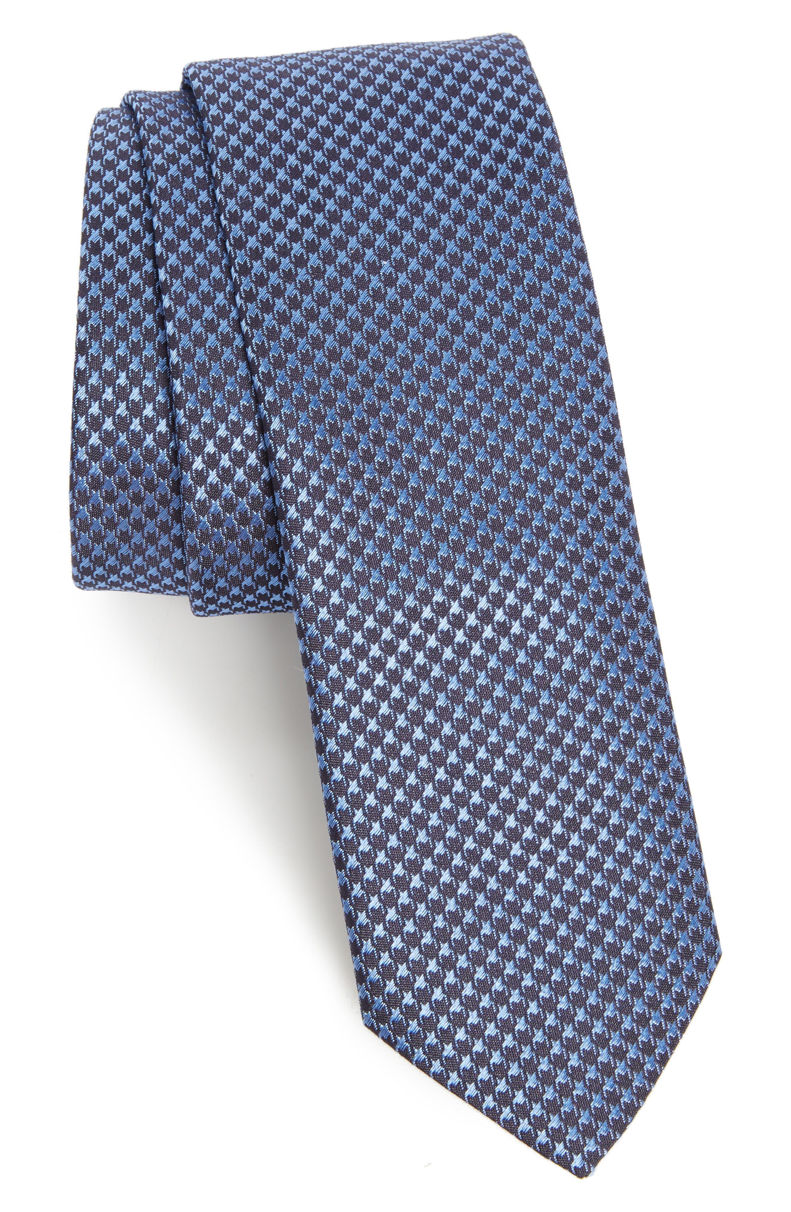 Houndstooth Silk Tie,                         Main,                         color, Navy