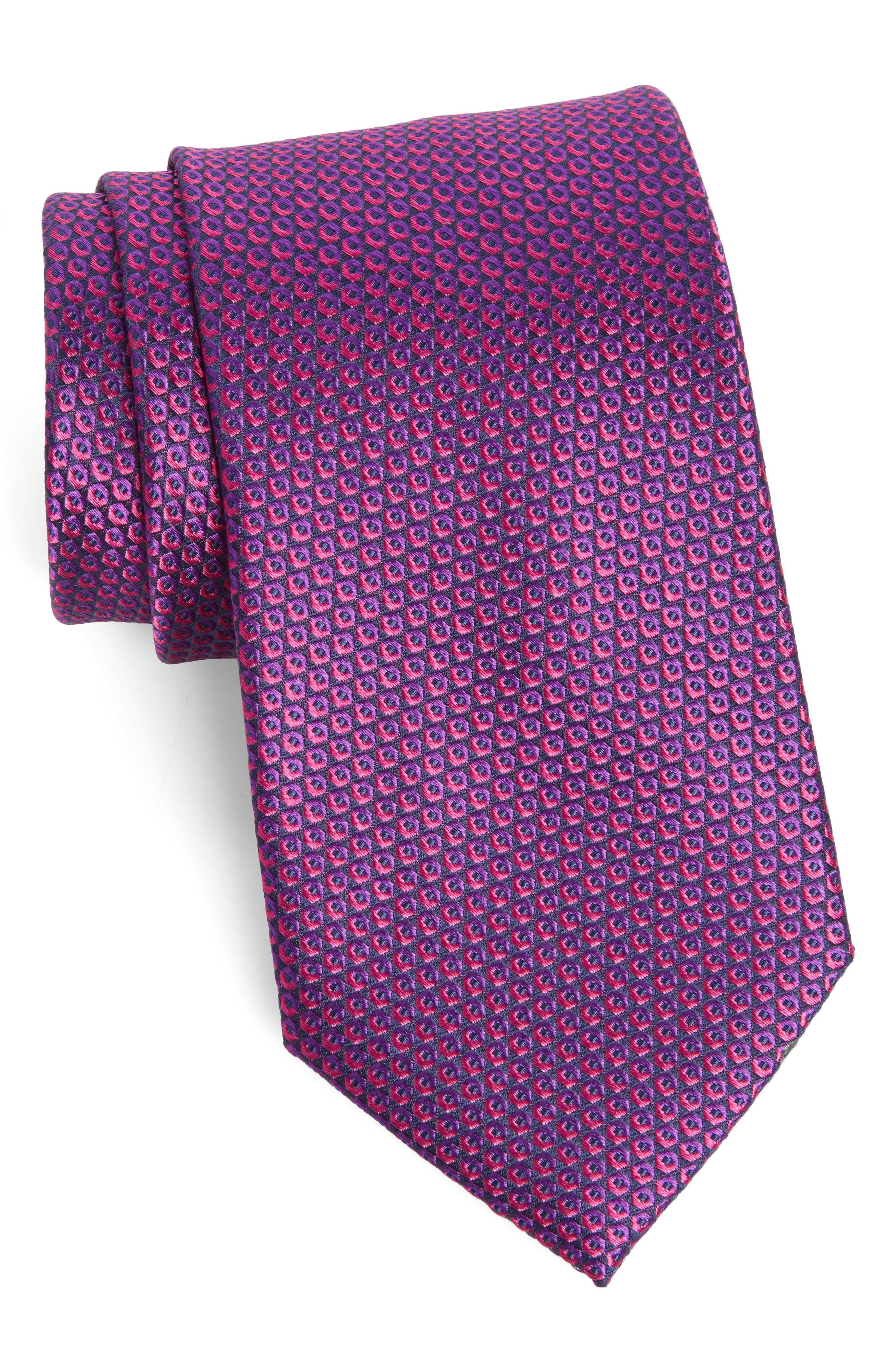 Geometric Silk Tie,                             Main thumbnail 1, color,                             Fuchsia