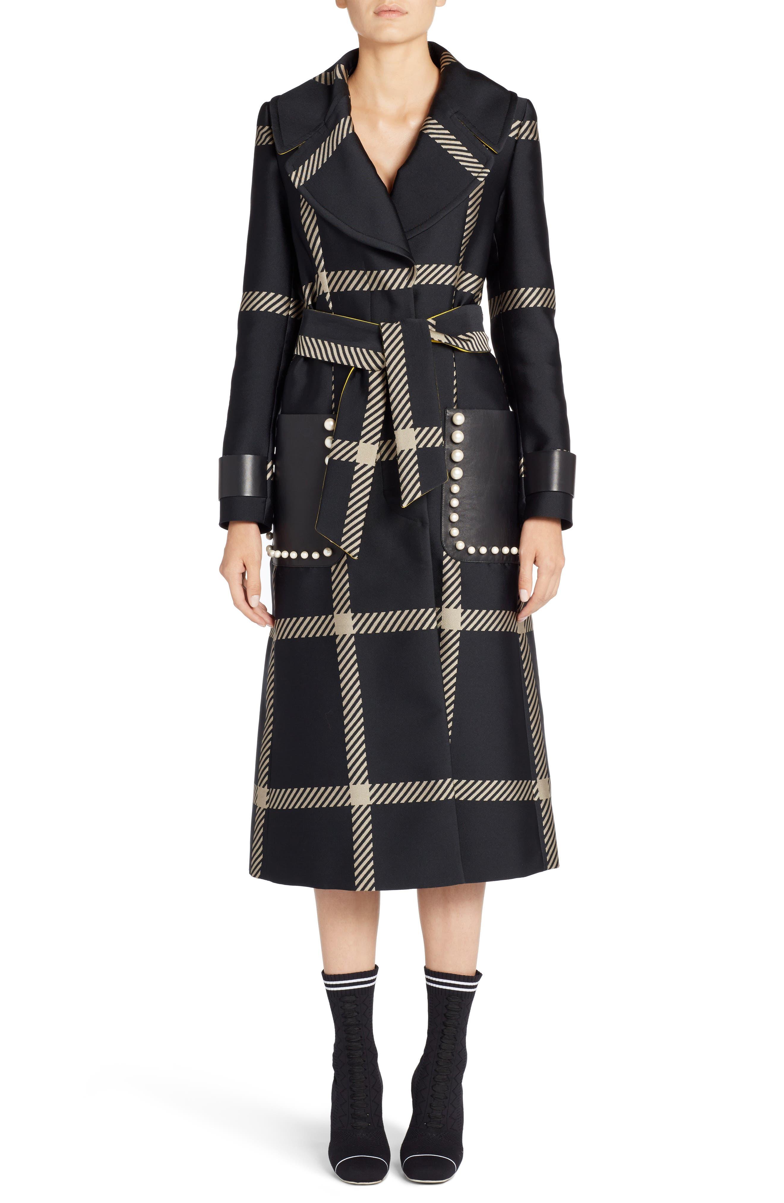 Macro Check Coat,                         Main,                         color, Black