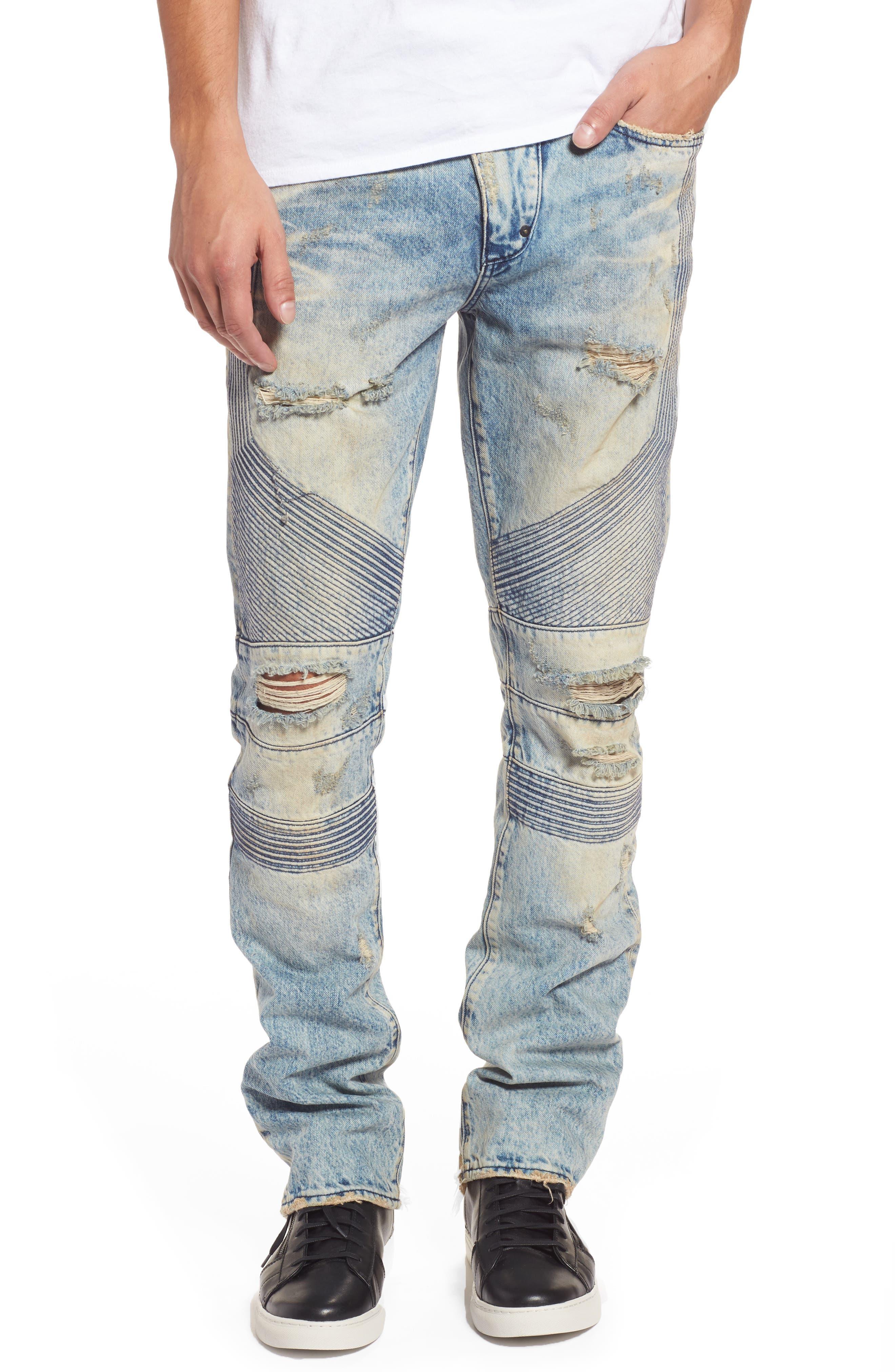 Main Image - PRPS Le Sabre Slim Fit Moto Jeans (Harvested Light Wash)