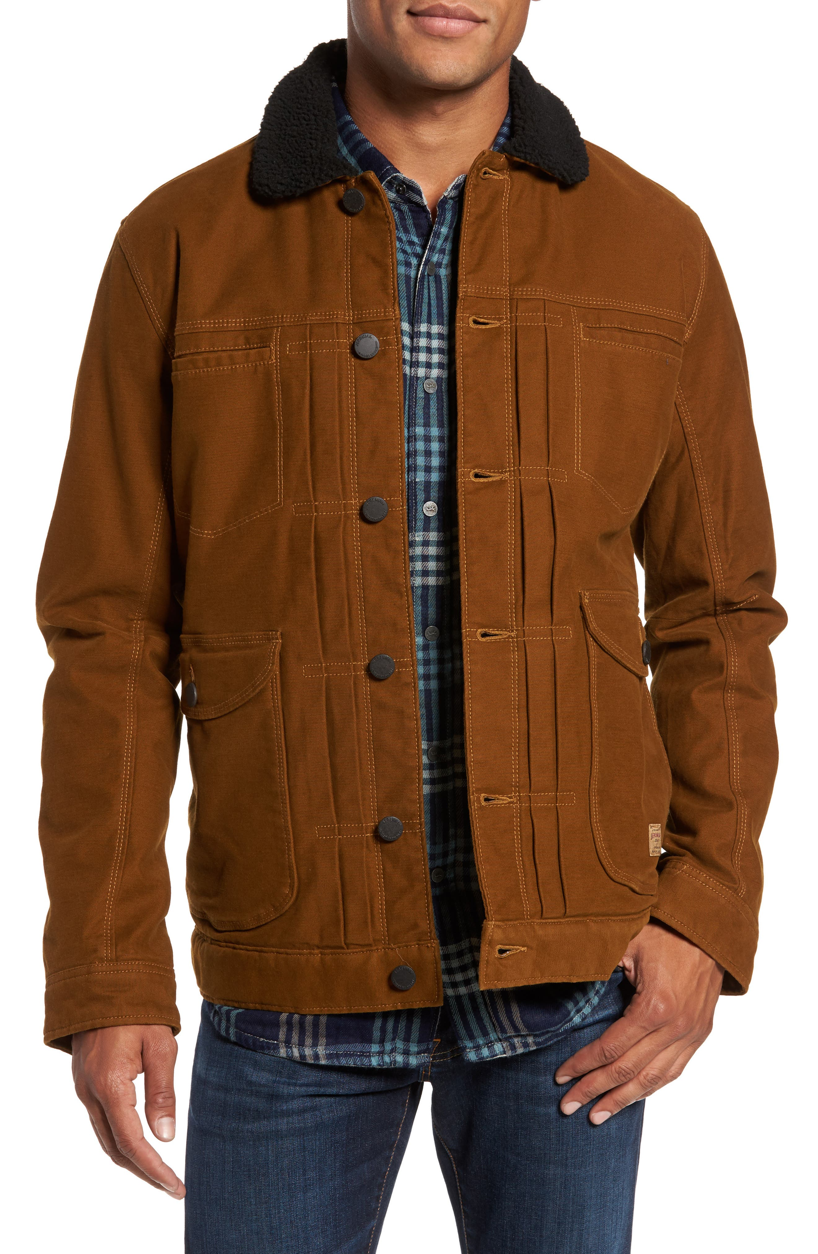 Terra Broken Twill Jacket with Faux Shearling Trim,                         Main,                         color, Maple