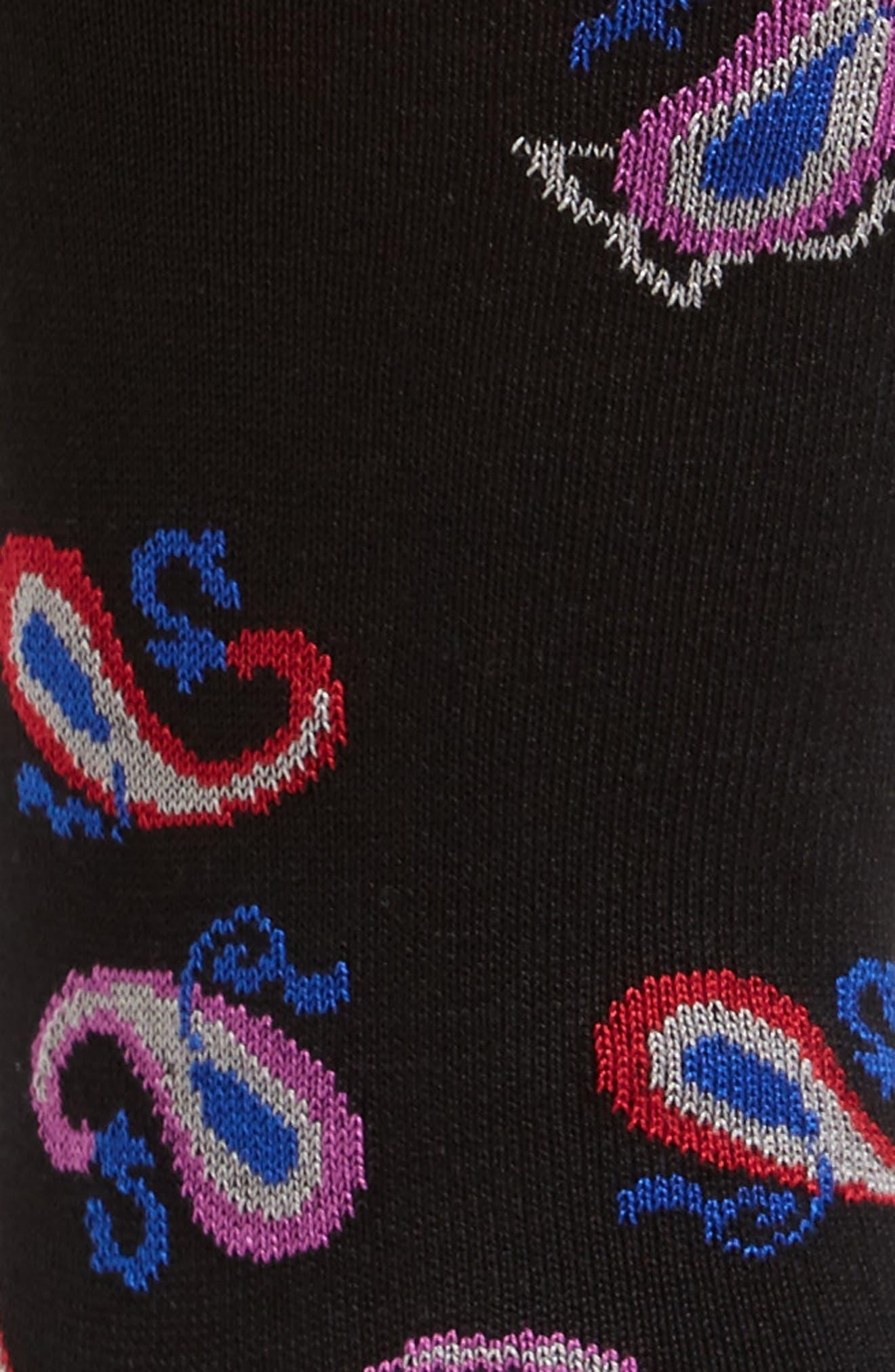 Paisley Socks,                             Alternate thumbnail 2, color,                             Black