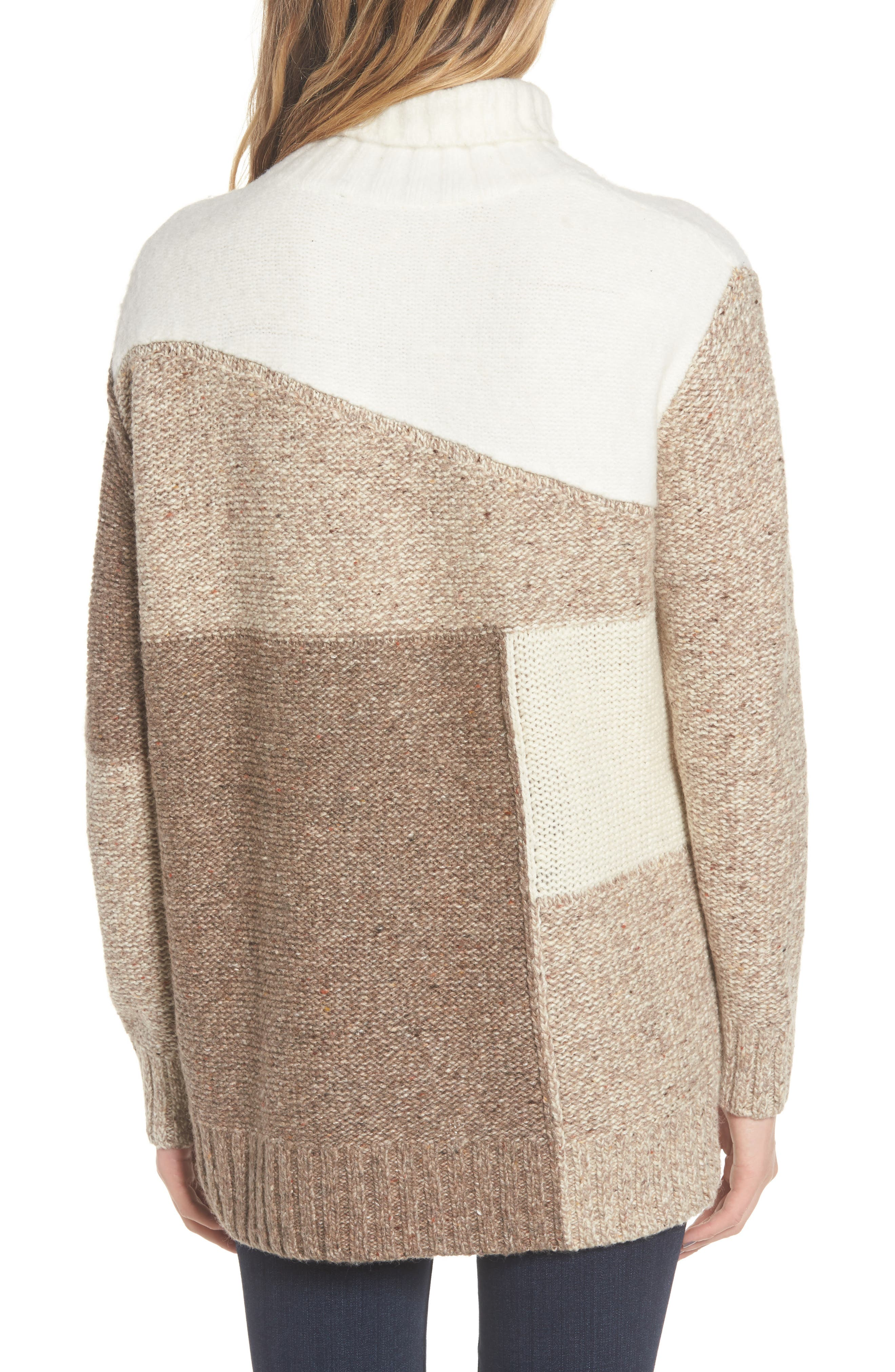Anna Patchwork Turtleneck,                             Alternate thumbnail 2, color,                             Winter White