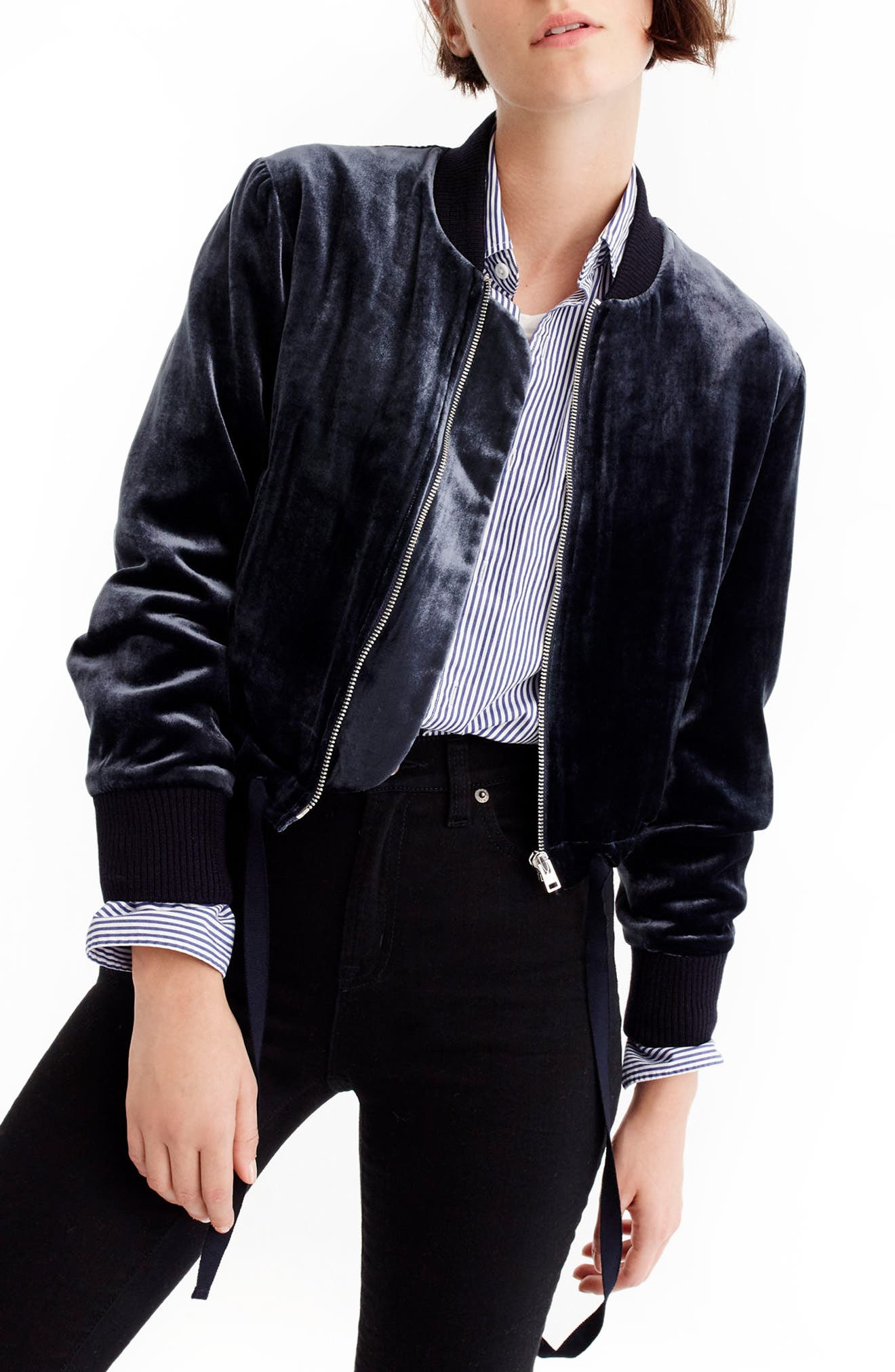 Alternate Image 1 Selected - J.Crew Velvet Bomber Jacket