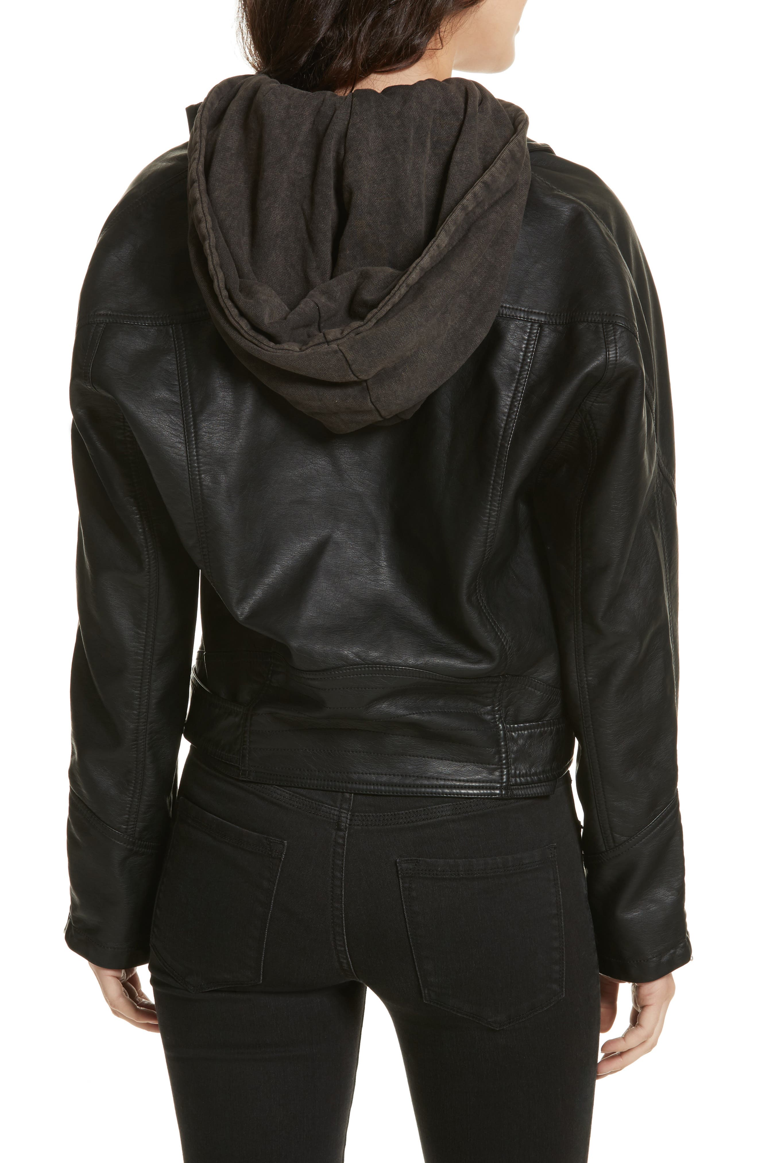 Drapey Faux Leather Moto Jacket,                             Alternate thumbnail 2, color,                             Black