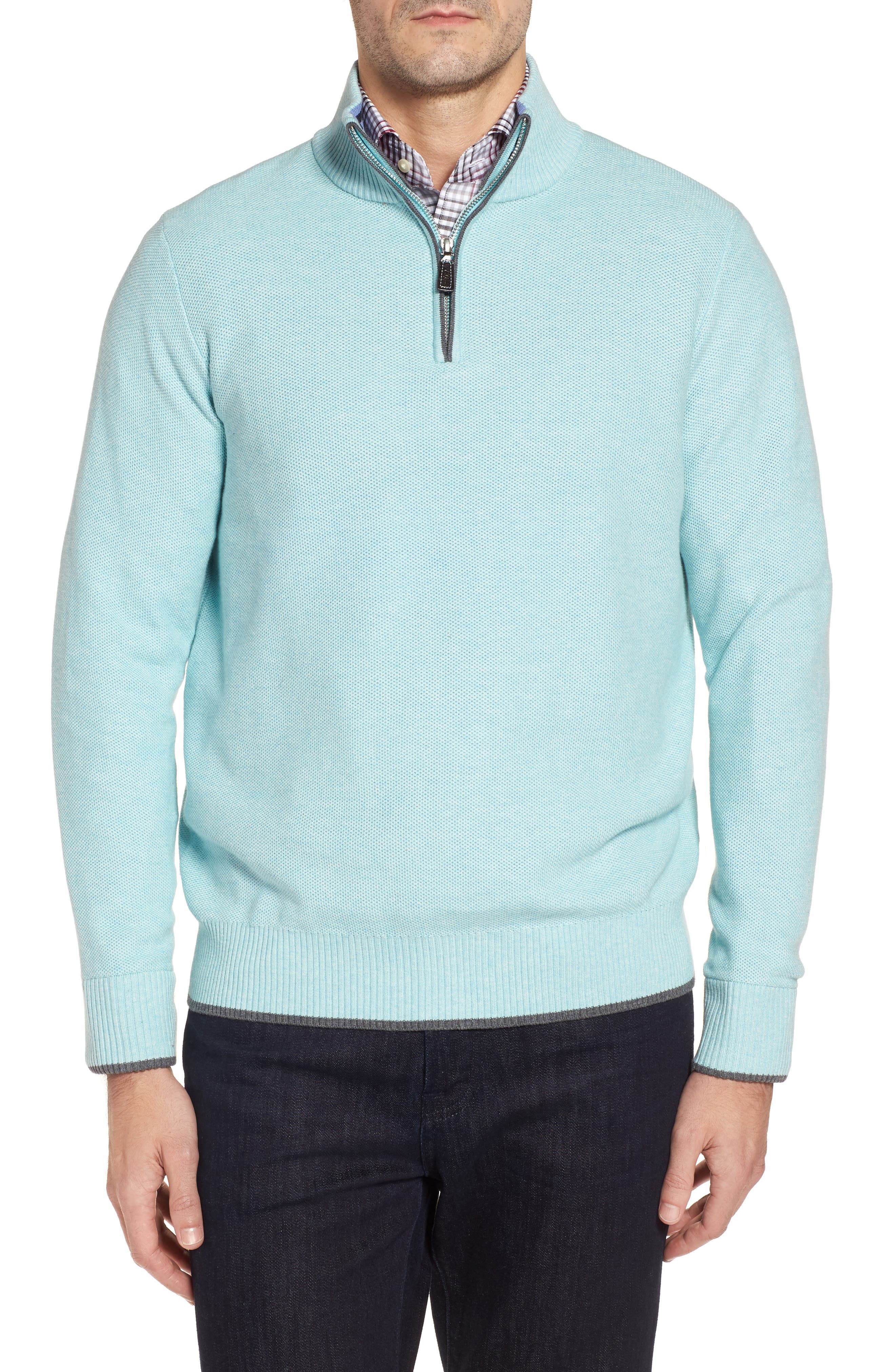 Starks Tipped Quarter Zip Sweater,                             Main thumbnail 1, color,                             Aqua
