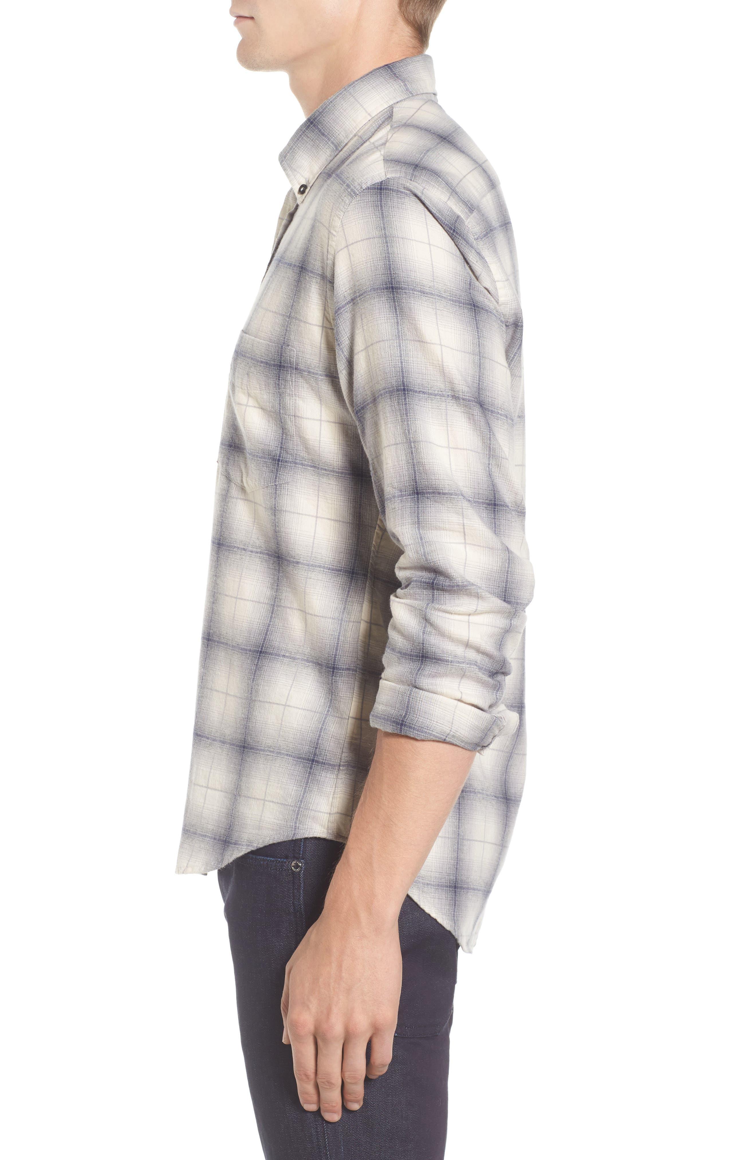 Kirby Slim Fit Plaid Flannel Shirt,                             Alternate thumbnail 3, color,                             Grey/ Blue