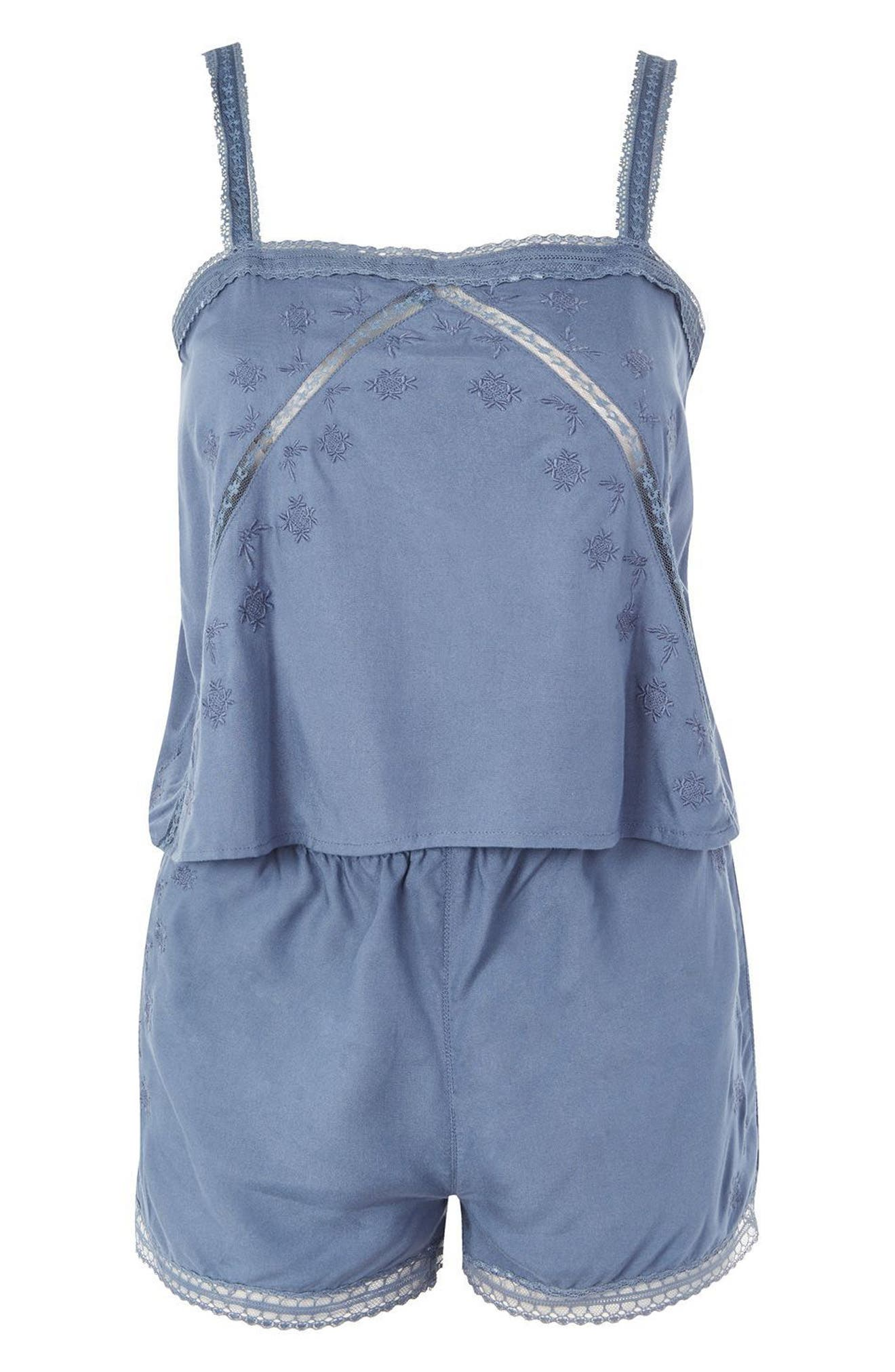 Alternate Image 4  - Topshop Slate Broderie Camisole & Sleep Shorts