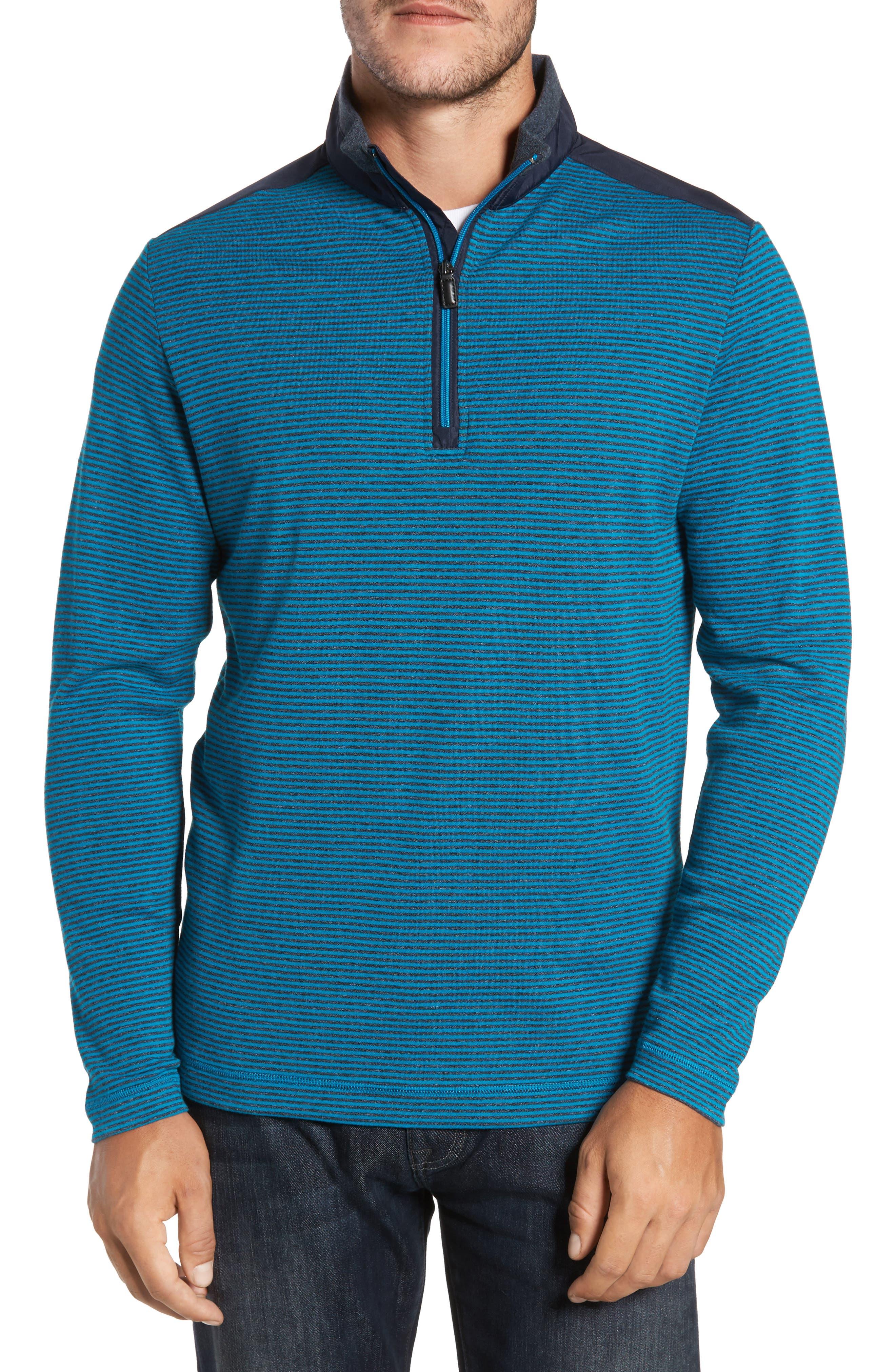 Bugatchi Classic Fit Striped Quarter Zip Pullover