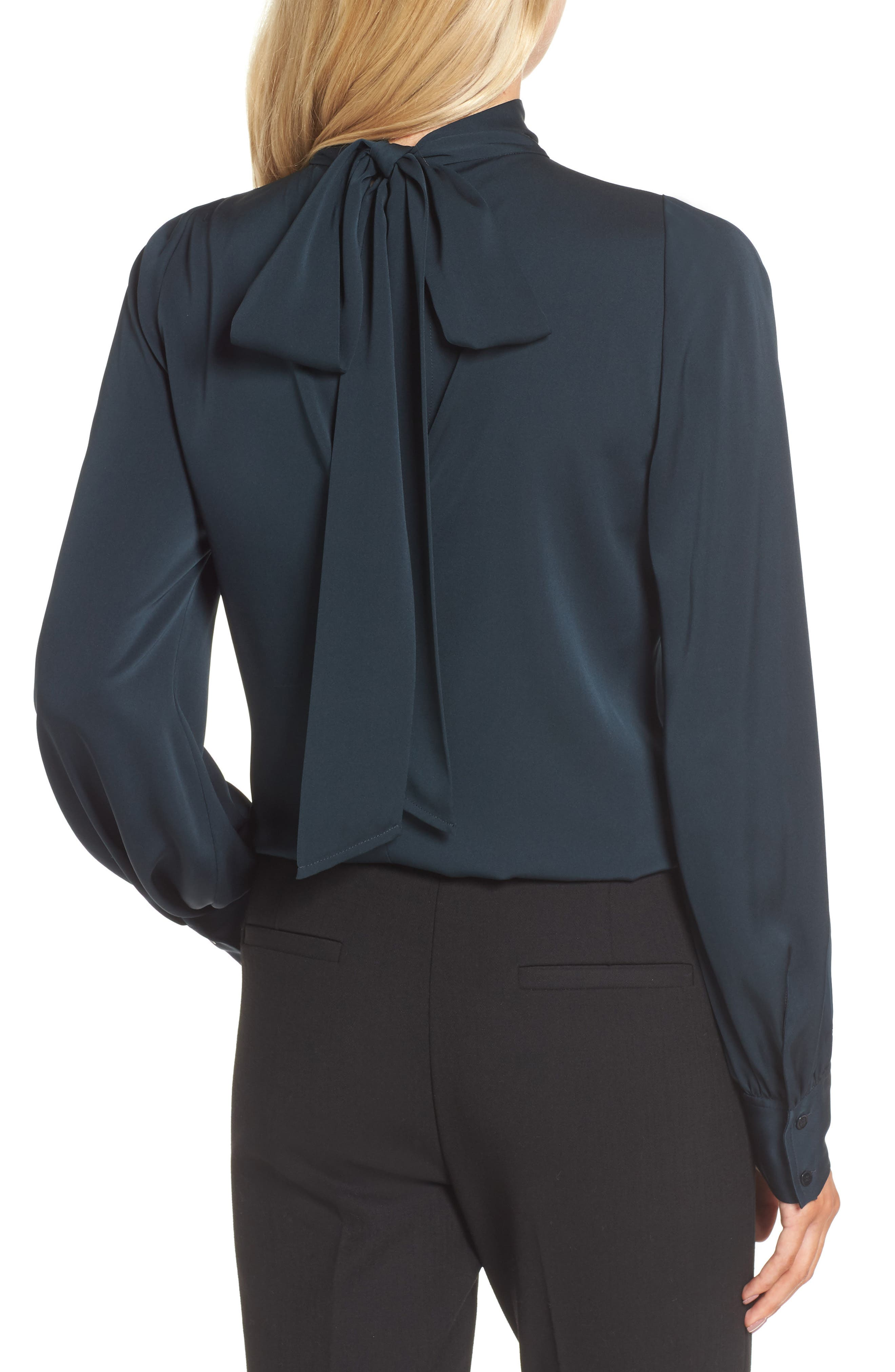 Alternate Image 2  - Lewit Tie Back Stretch Silk Blouse