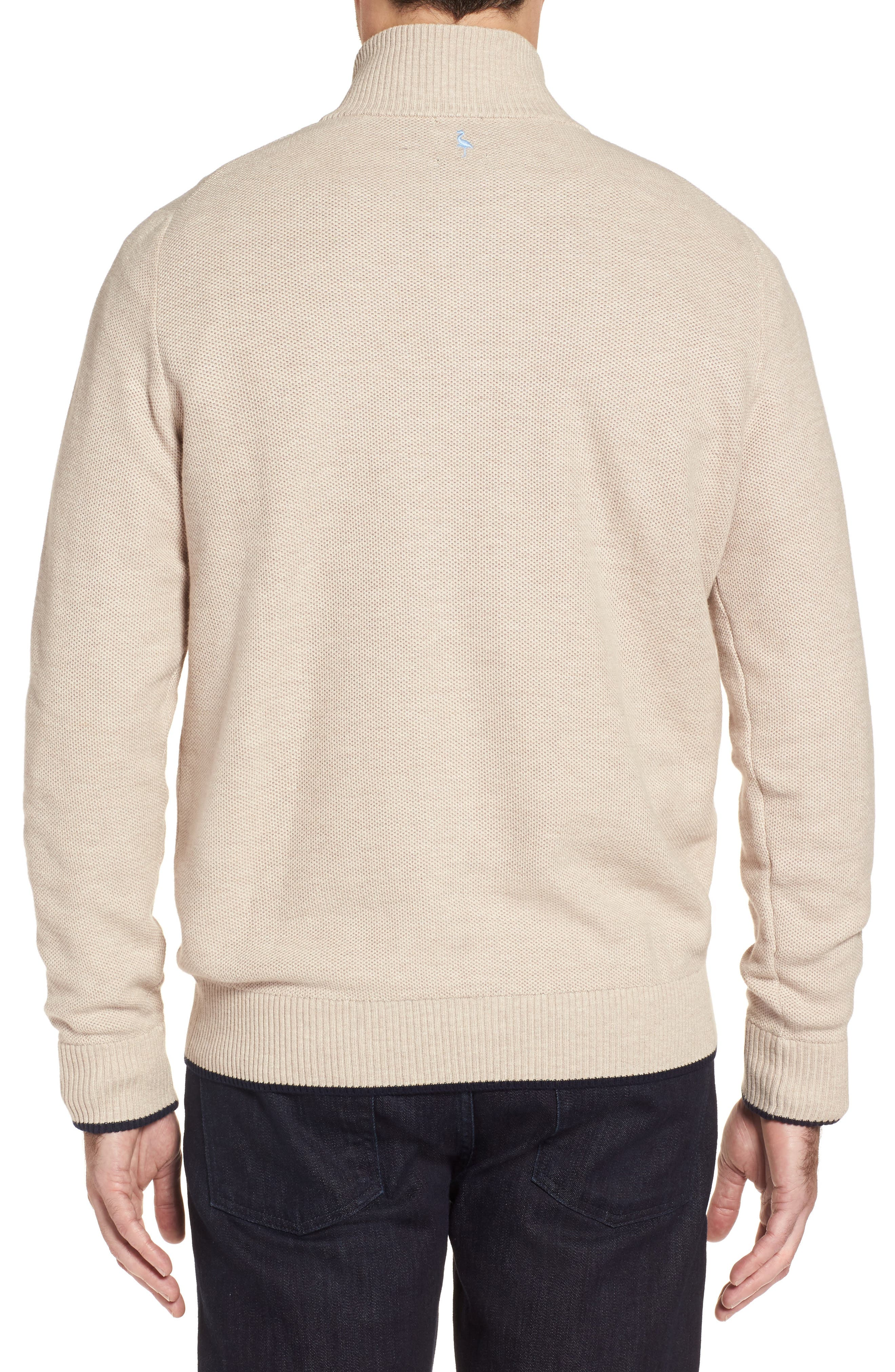 Sikes Tipped Quarter Zip Sweater,                             Alternate thumbnail 2, color,                             Oatmeal