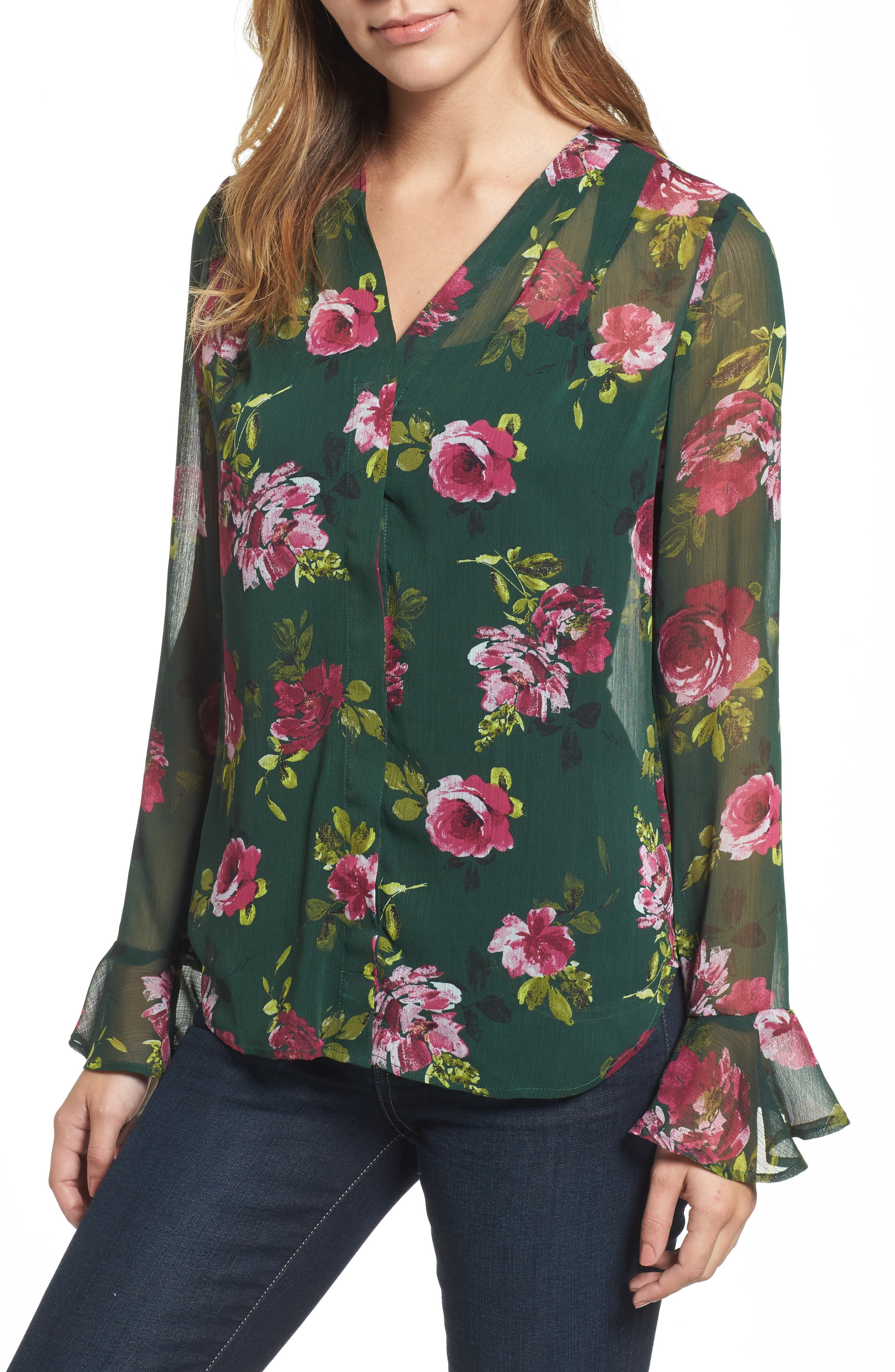 Silvy Floral Print Blouse,                         Main,                         color, Midnight Forest