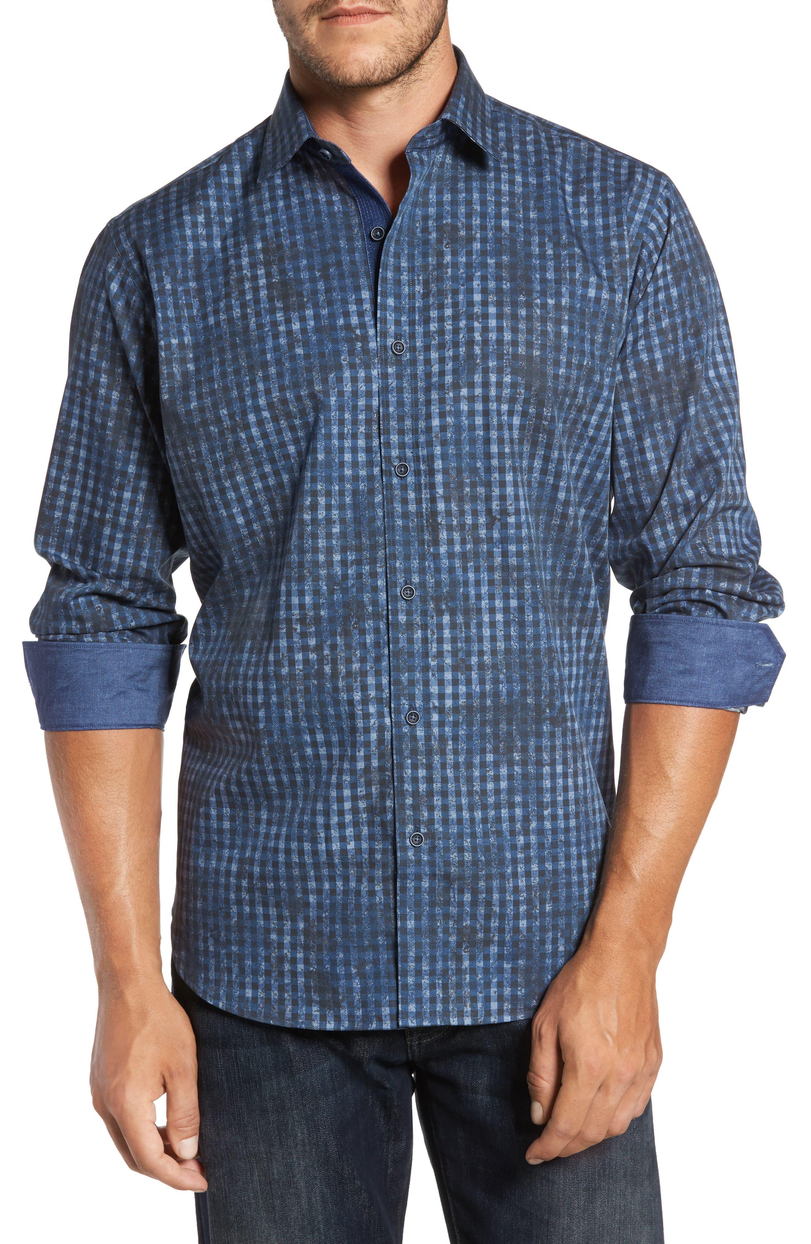 Classic Fit Mottled Check Sport Shirt,                             Main thumbnail 1, color,                             Indigo