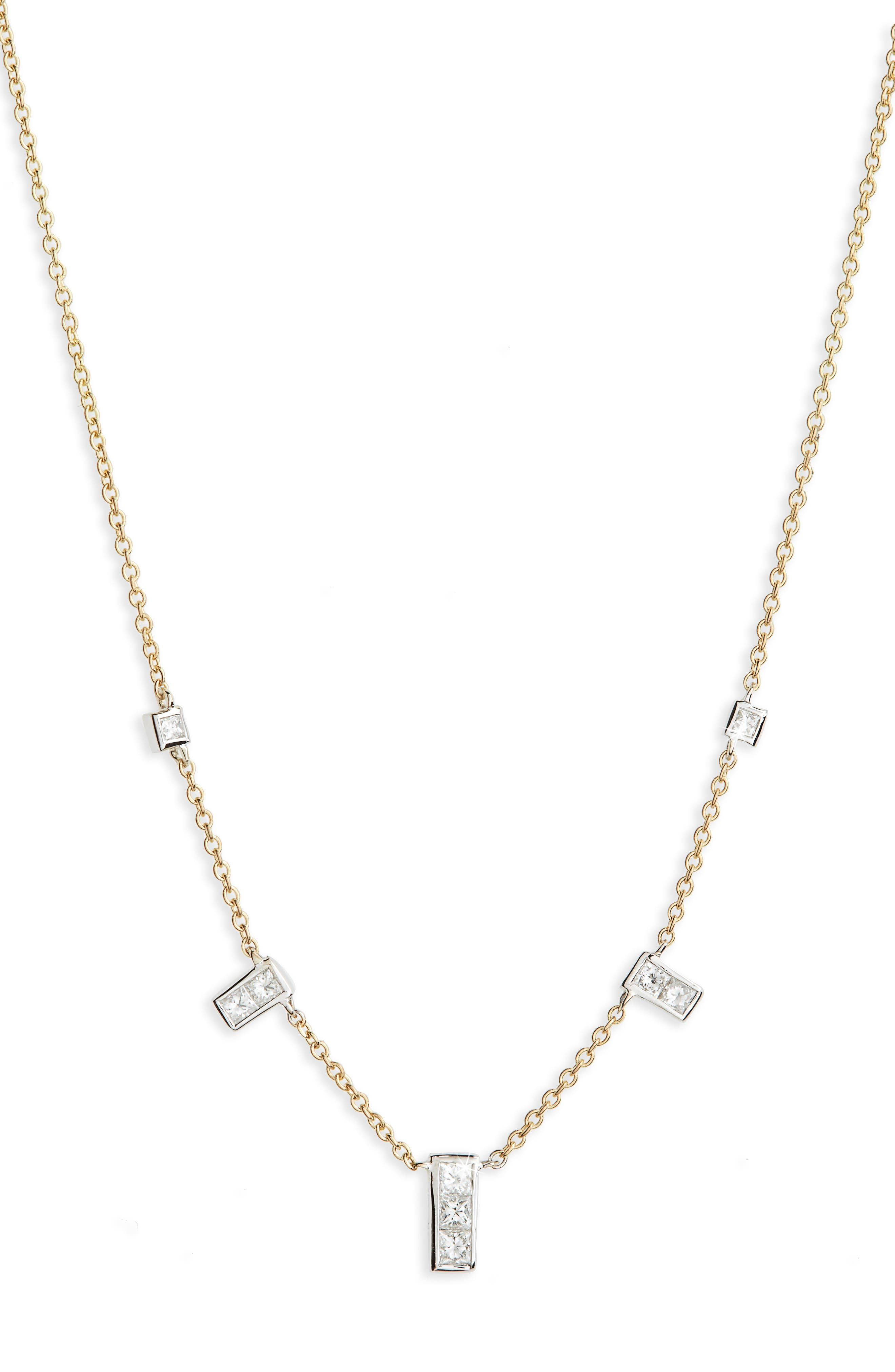 Diamond Rectangle Dangle Station Necklace,                             Main thumbnail 1, color,                             Yellow Gold/ White Gold