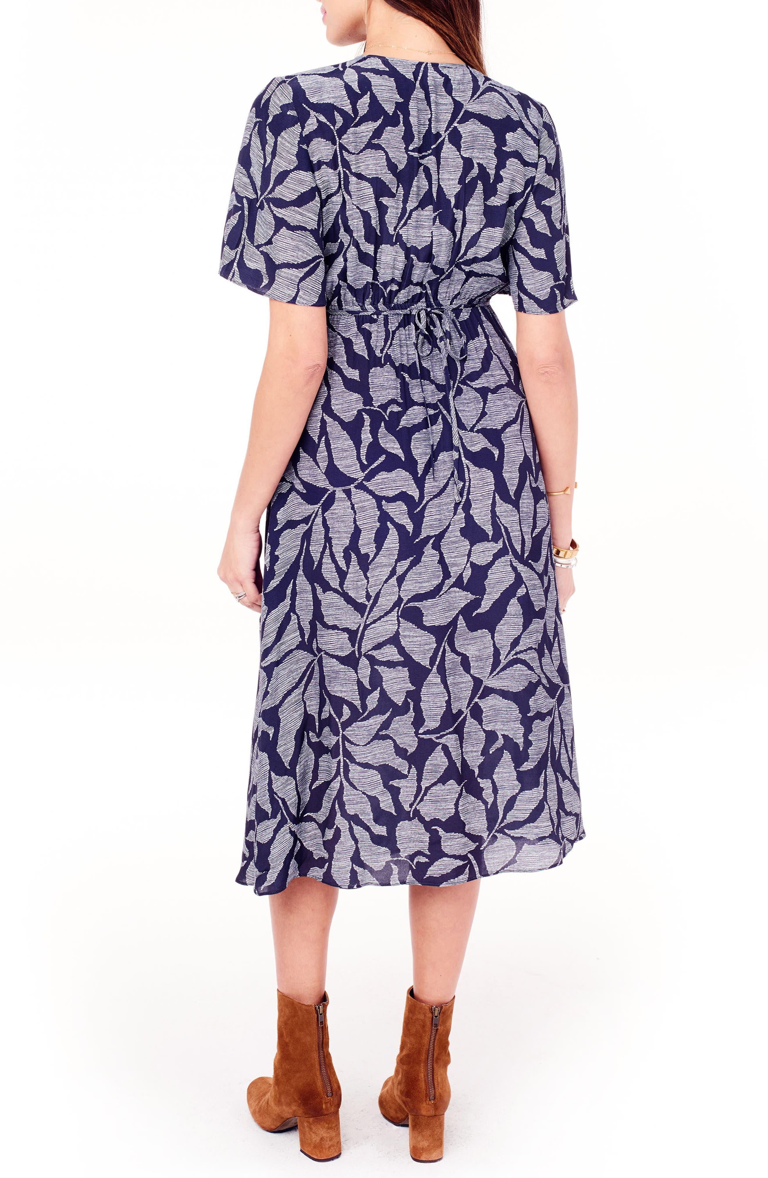 Flutter Sleeve Faux Wrap Maternity Dress,                             Alternate thumbnail 2, color,                             Navy Leaf Print