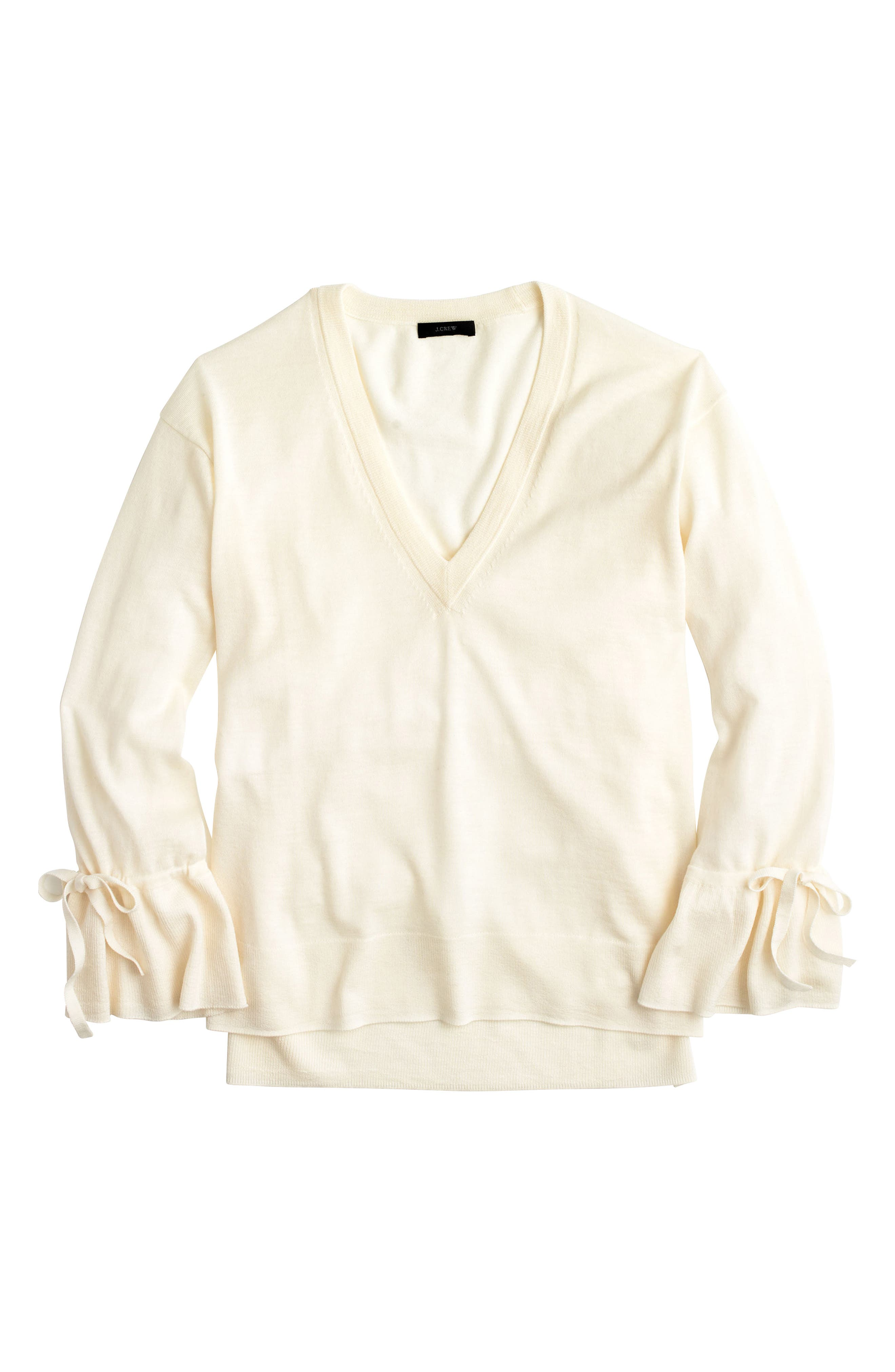 J.Crew Drawstring Sleeve V-Neck Merino Wool Sweater