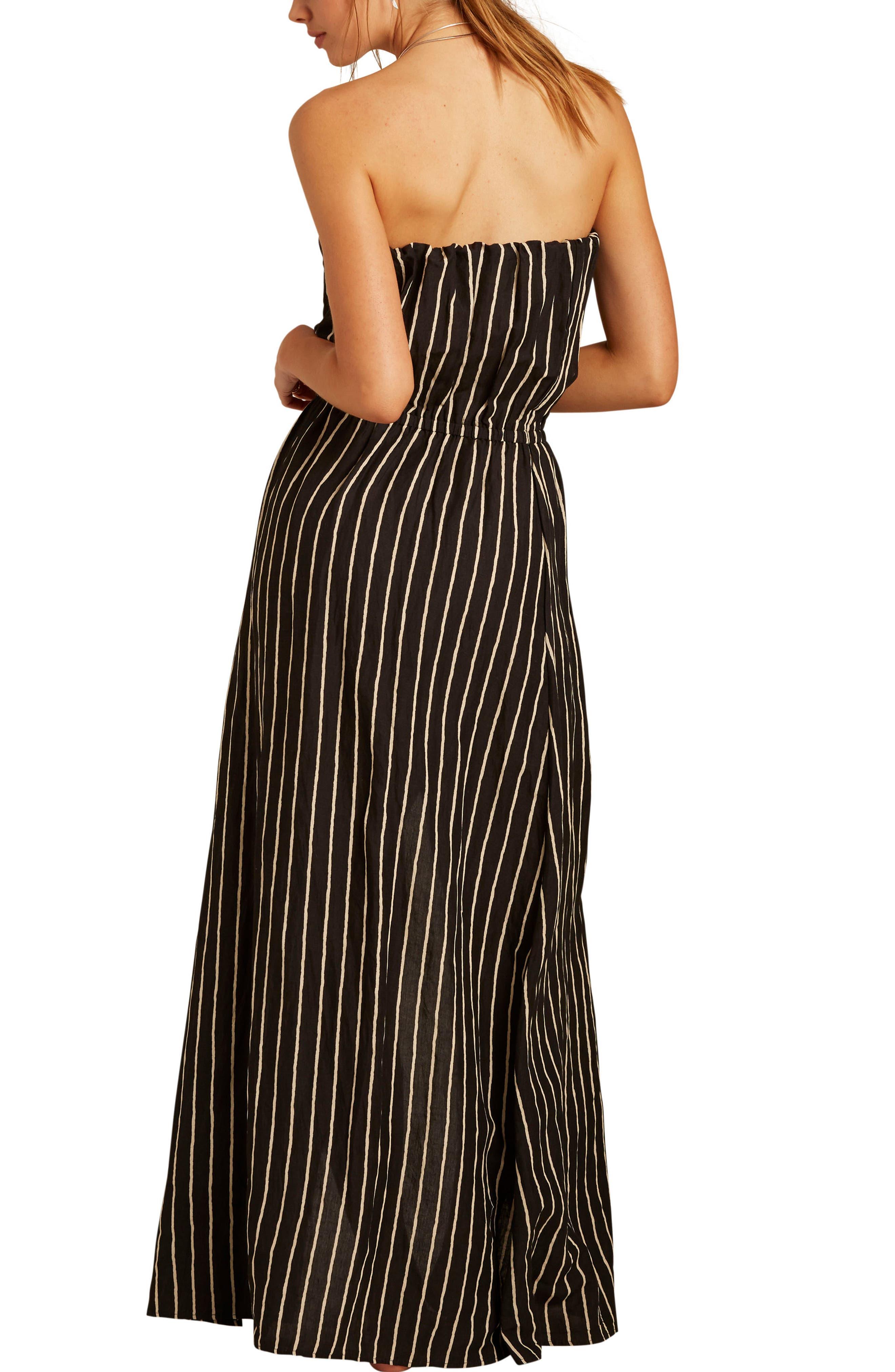 Strapless Faux Wrap Maxi Dress,                             Alternate thumbnail 2, color,                             Black