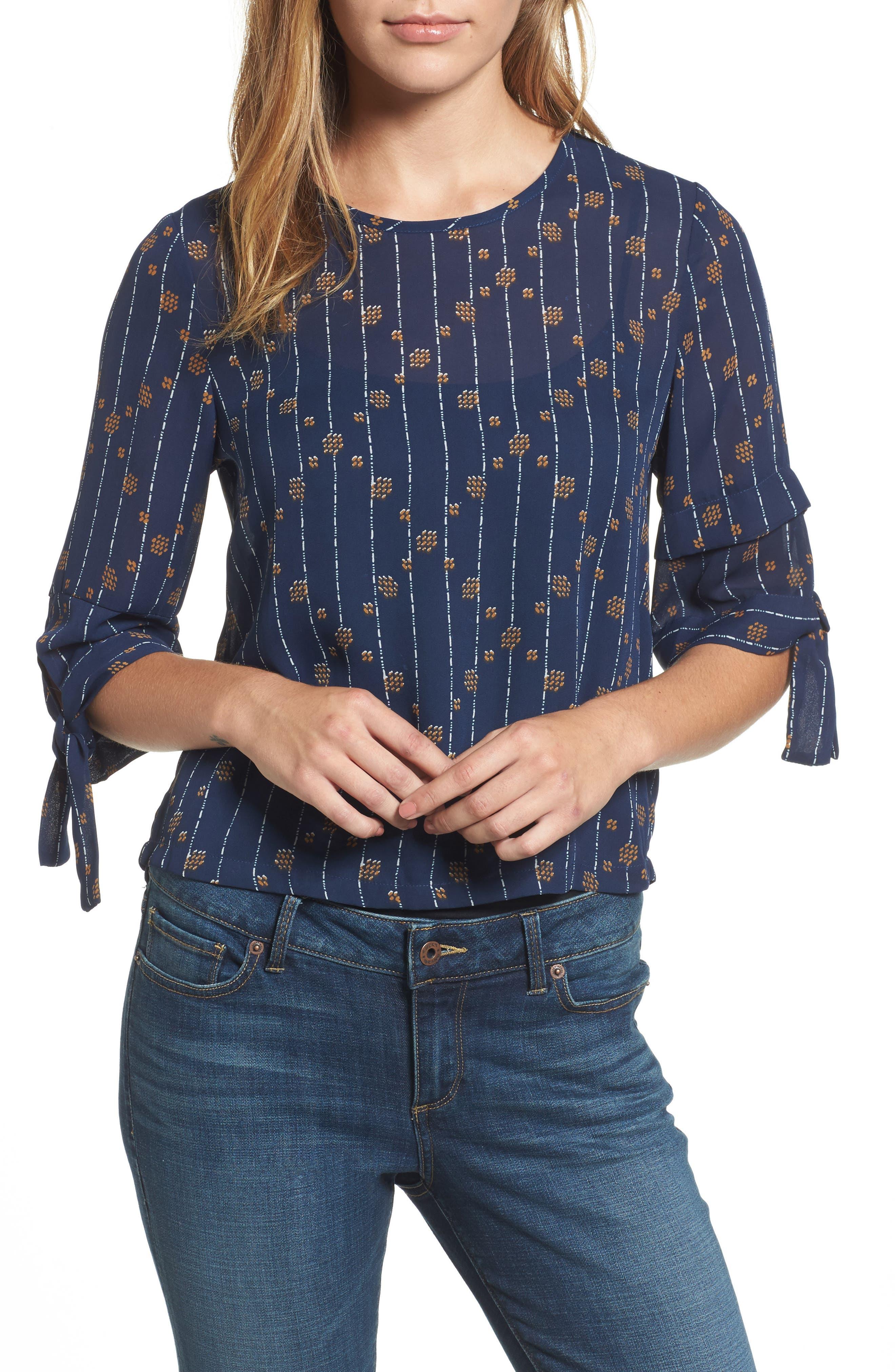 Tie Sleeve Geo Print Top,                         Main,                         color, Navy Multi