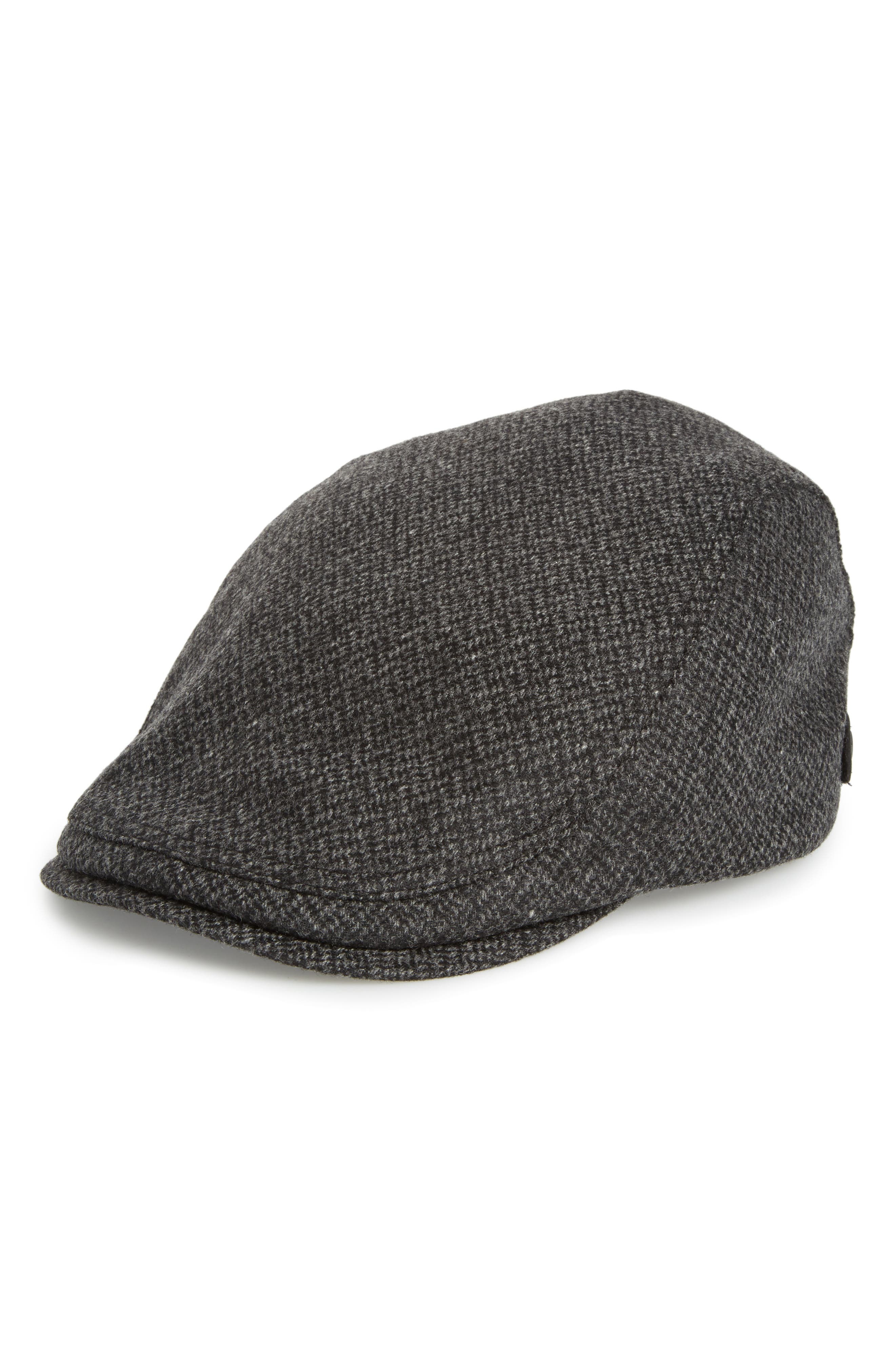 Ted Baker Thompson Wool Blend Flat Driving Cap,                             Main thumbnail 1, color,                             Charcoal
