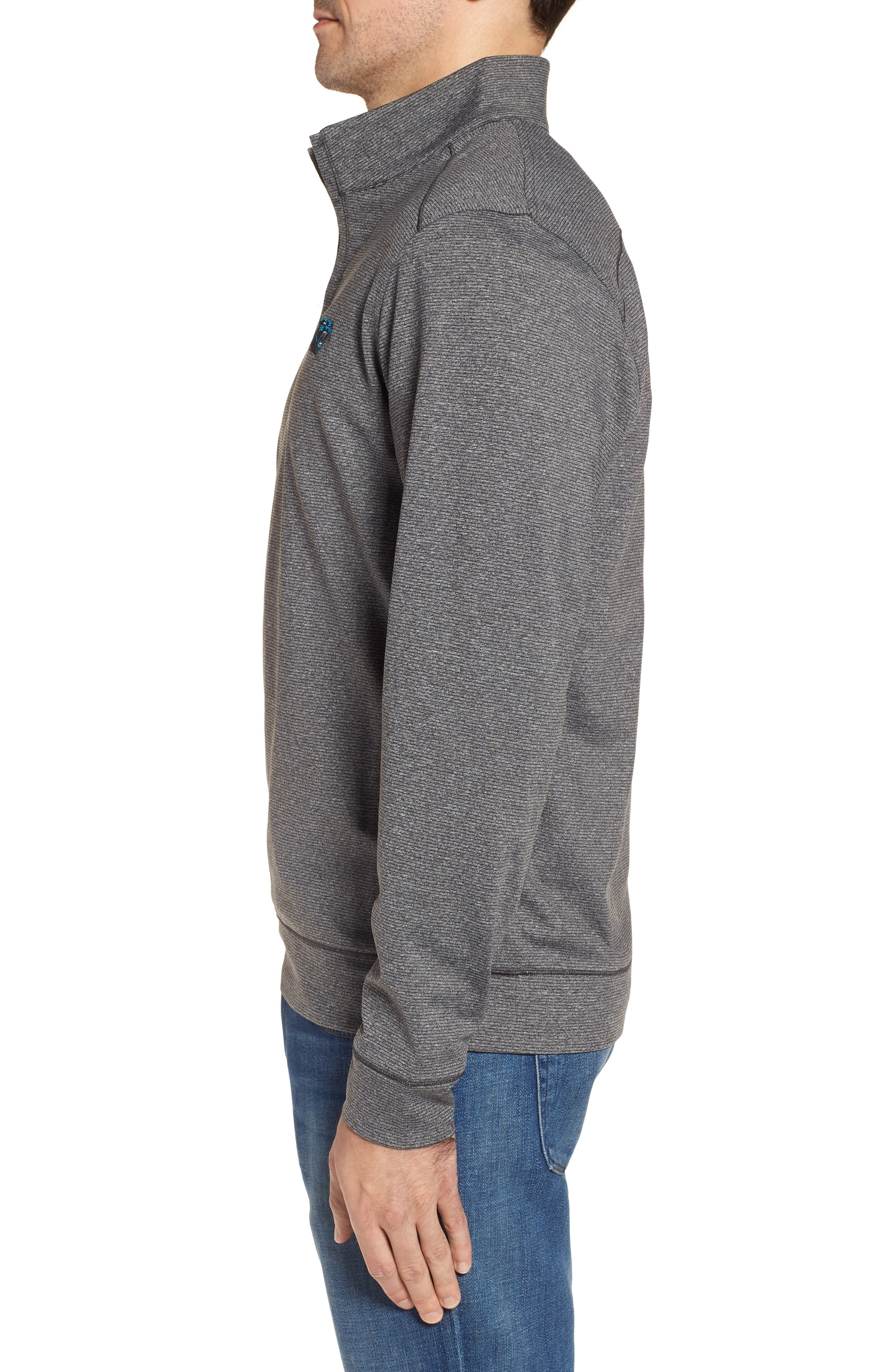 Shoreline - Carolina Panthers Half Zip Pullover,                             Alternate thumbnail 3, color,                             Charcoal Heather