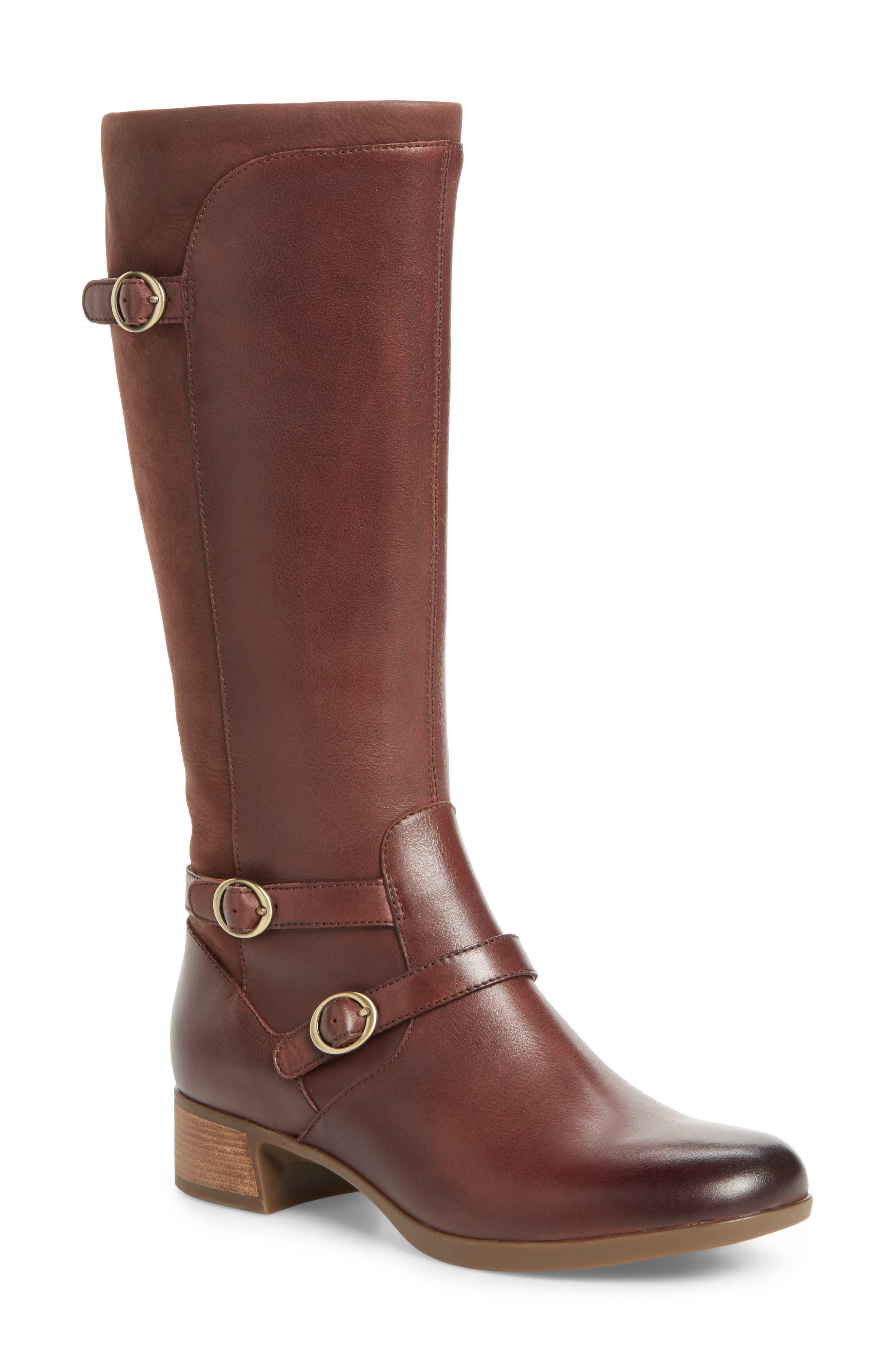 Lorna Tall Boot,                         Main,                         color, Wine Burnished Nappa Leather