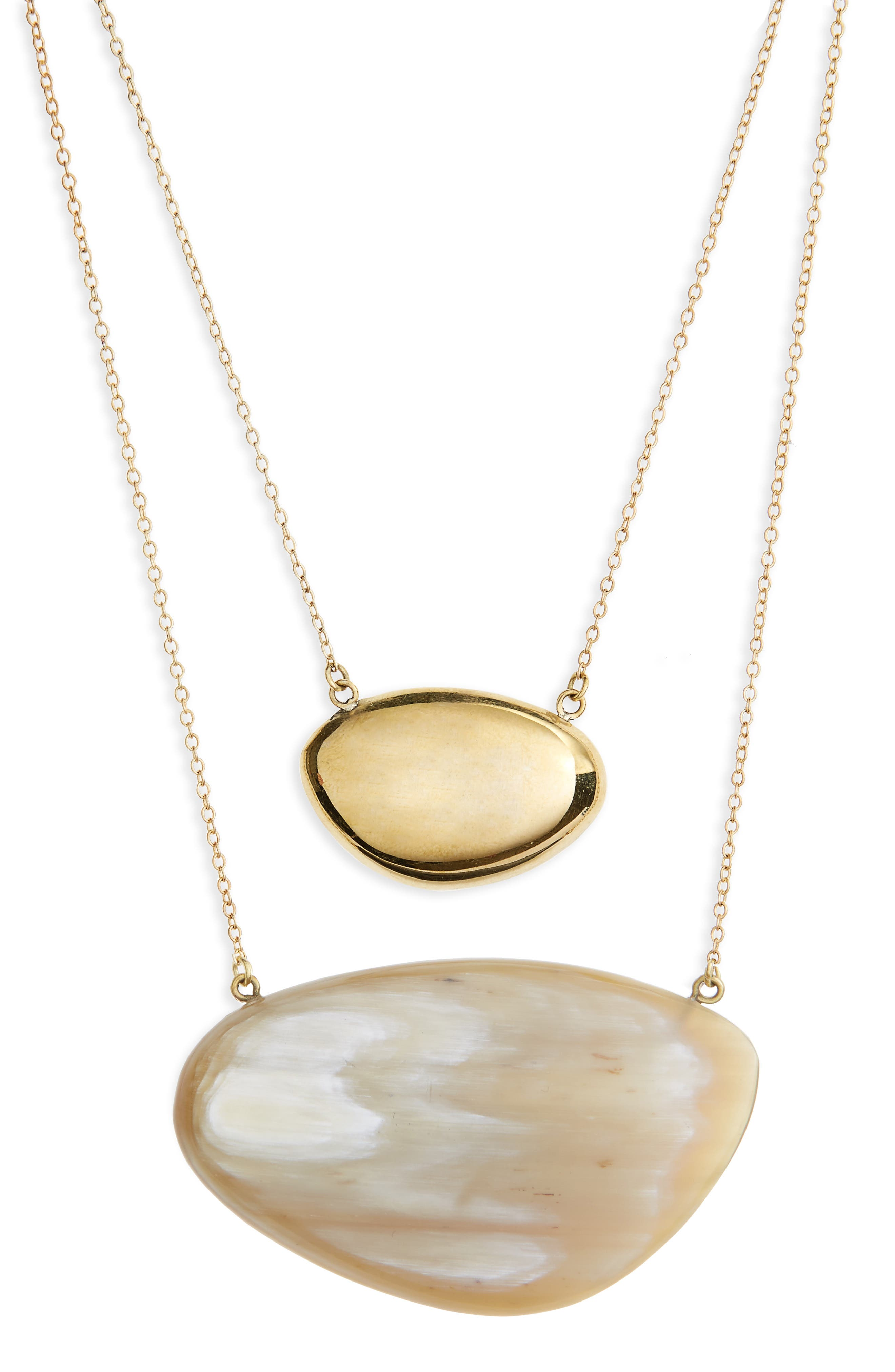 Sabi Layered Necklace,                         Main,                         color, Brass And Natural