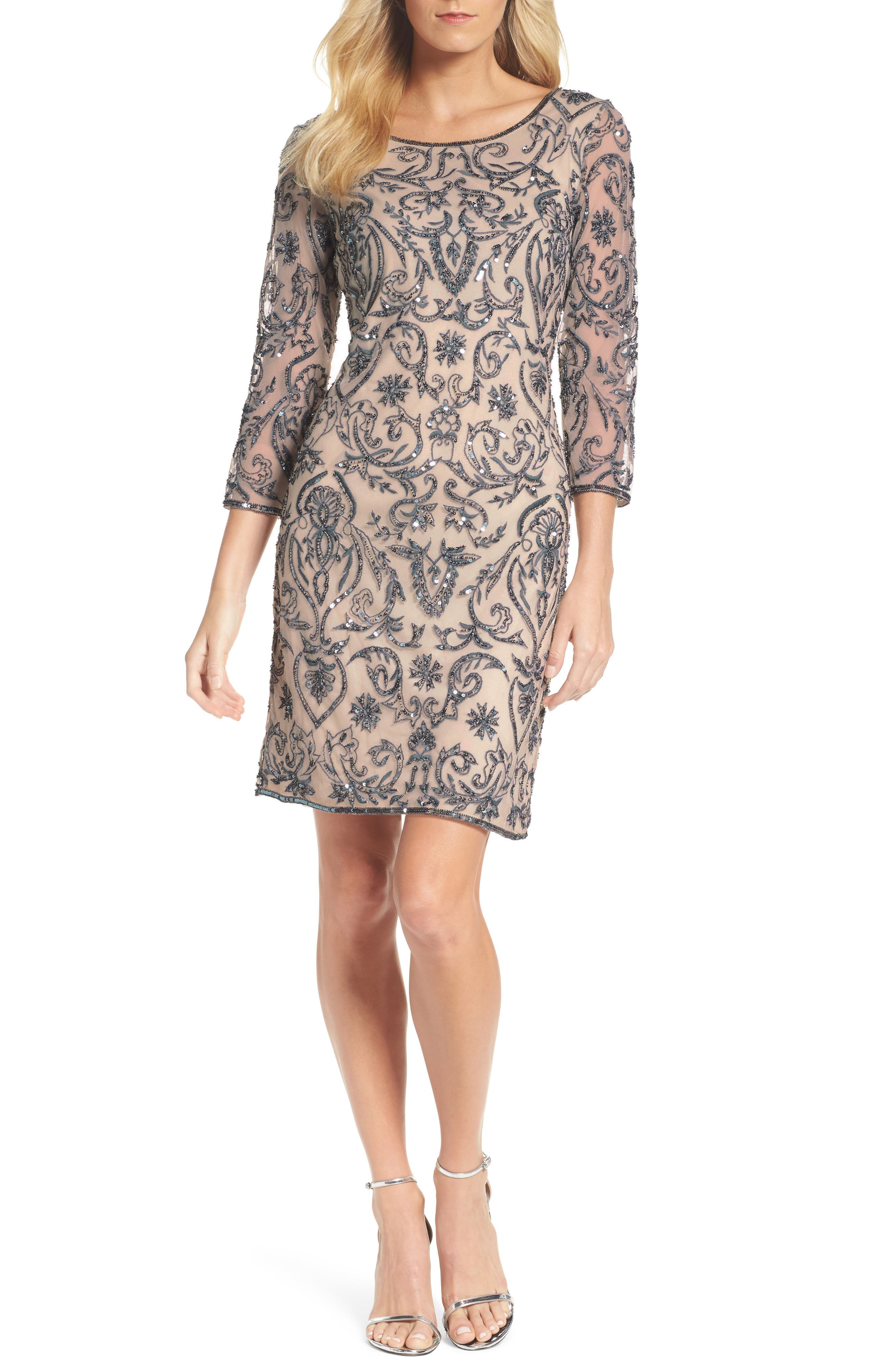 Sequin Embroidered Sheath Dress,                         Main,                         color, Rose
