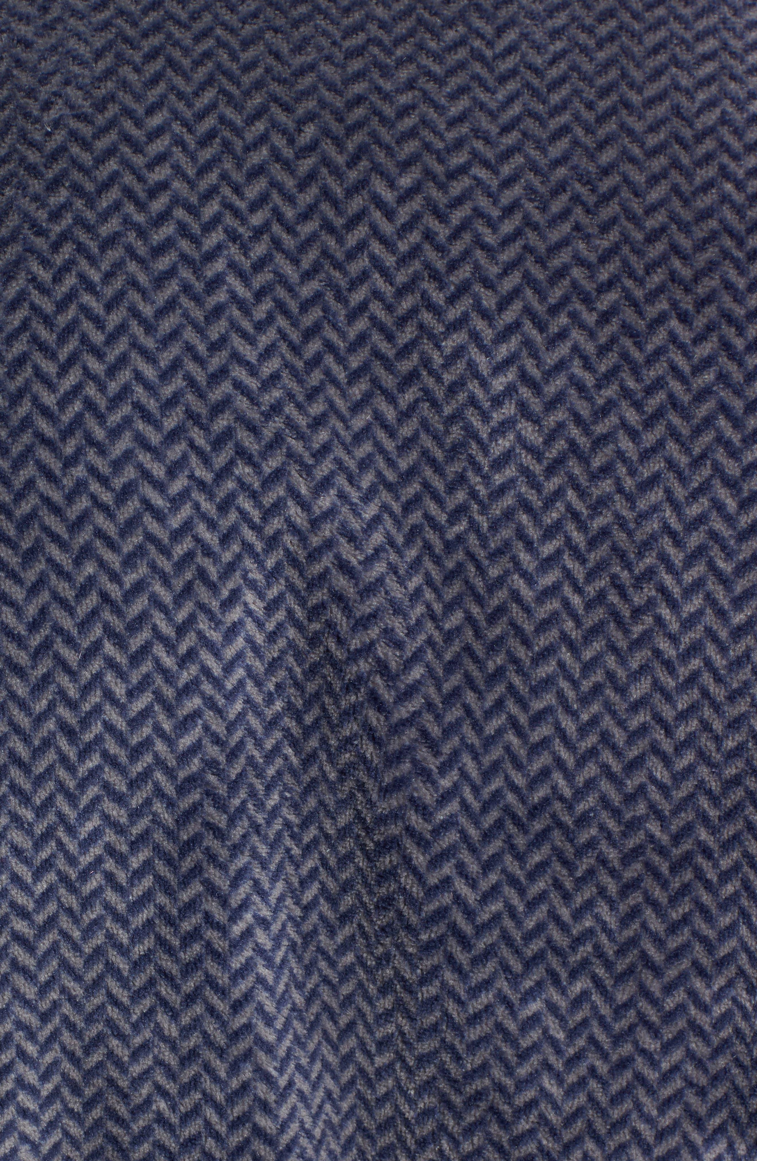 Herringbone Fleece Robe,                             Alternate thumbnail 6, color,                             Navy Indigo- Grey Herringbone