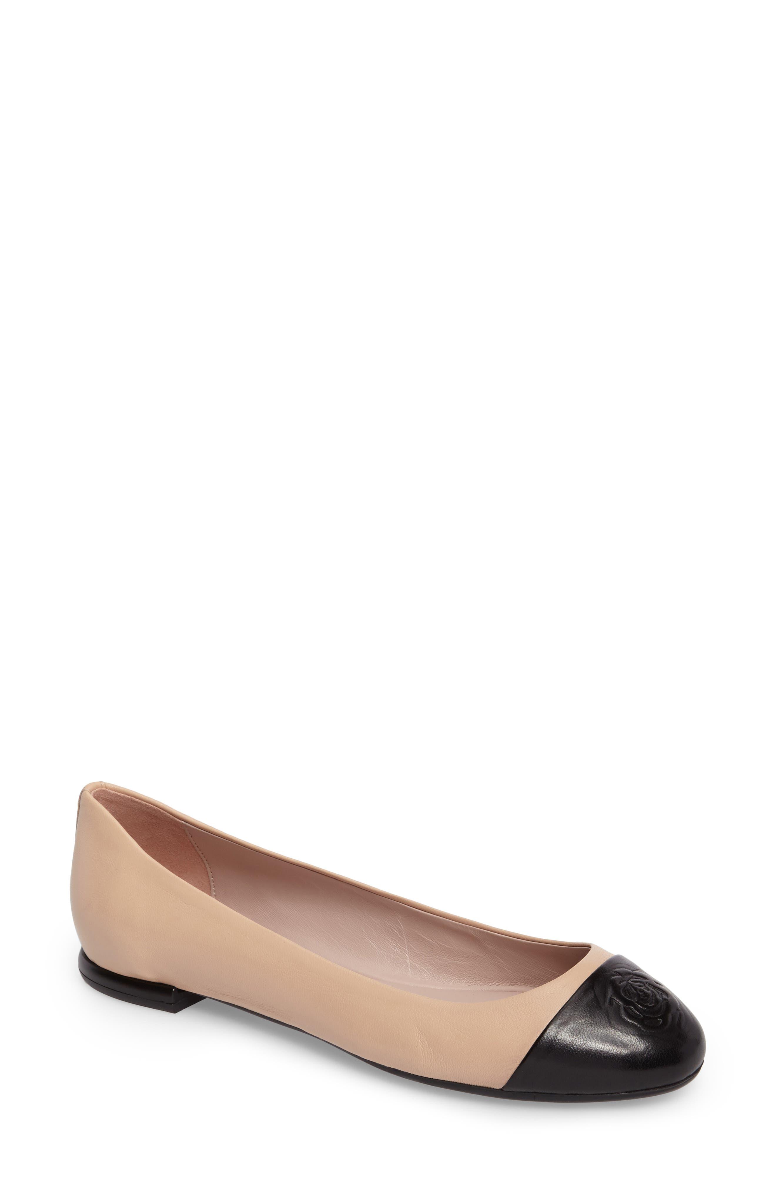 Rosa Ballet Flat,                             Main thumbnail 1, color,                             Beige/ Black Leather