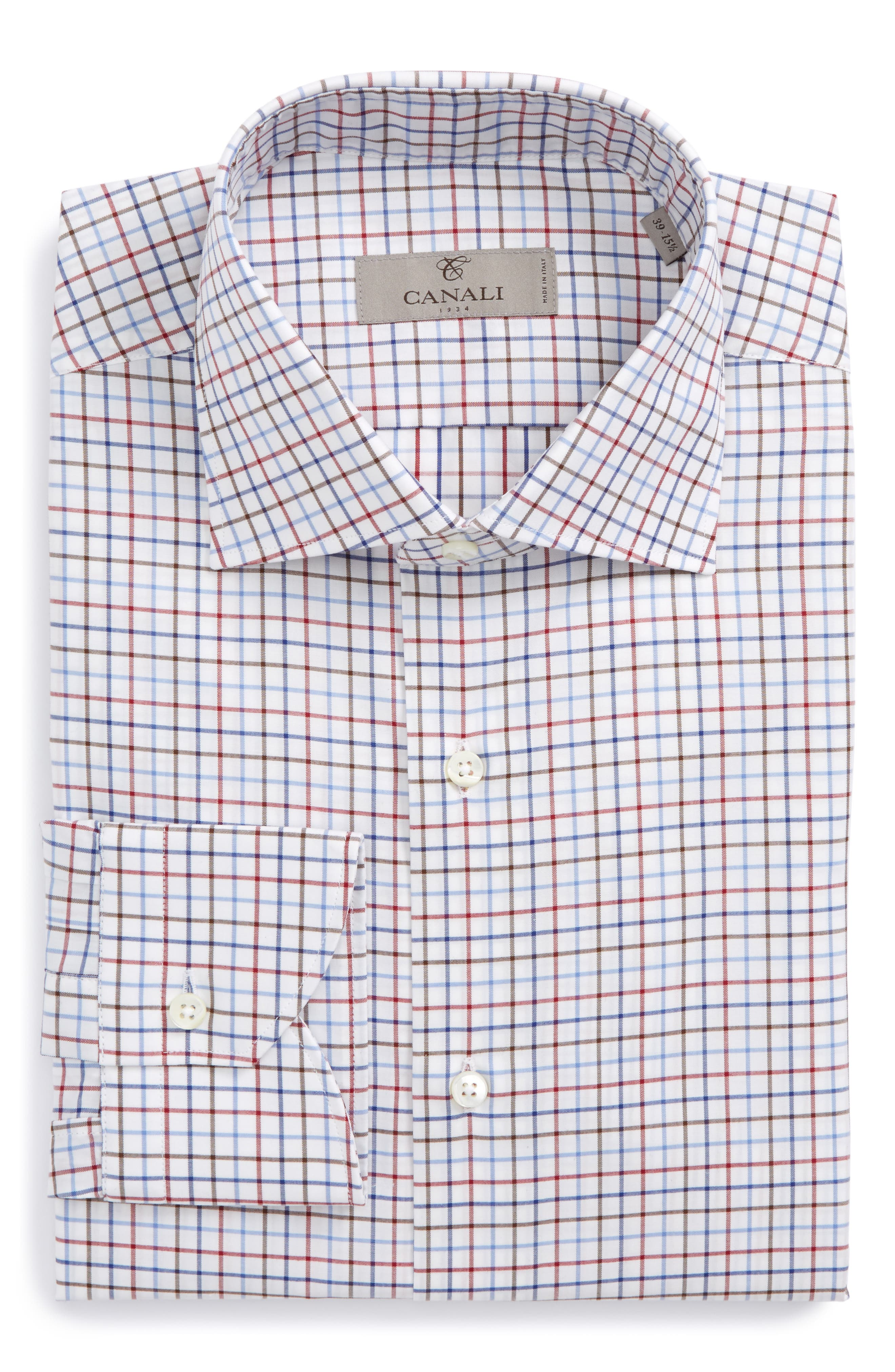 Regular Fit Check Dress Shirt,                             Main thumbnail 1, color,                             Red