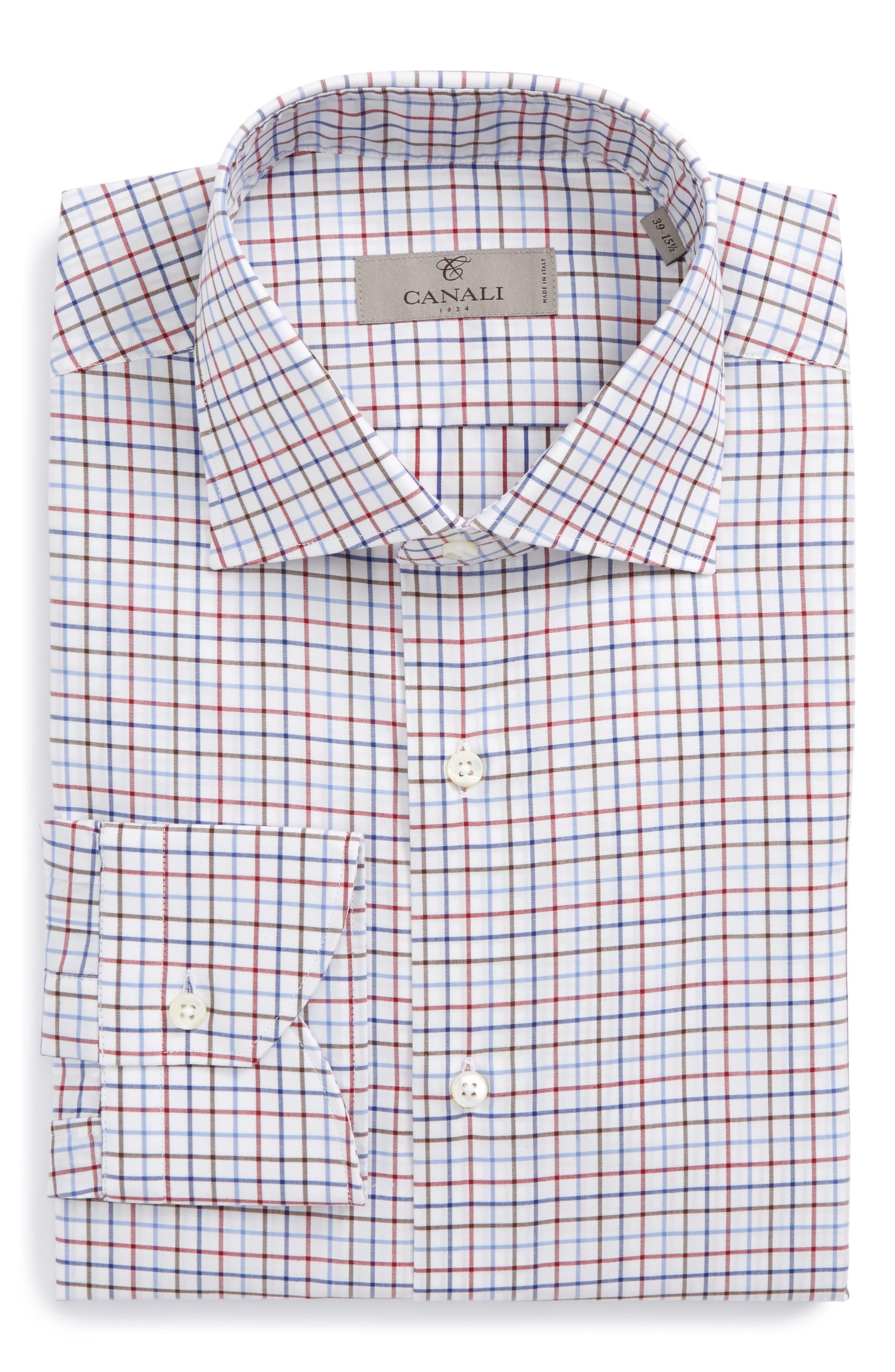 Regular Fit Check Dress Shirt,                         Main,                         color, Red
