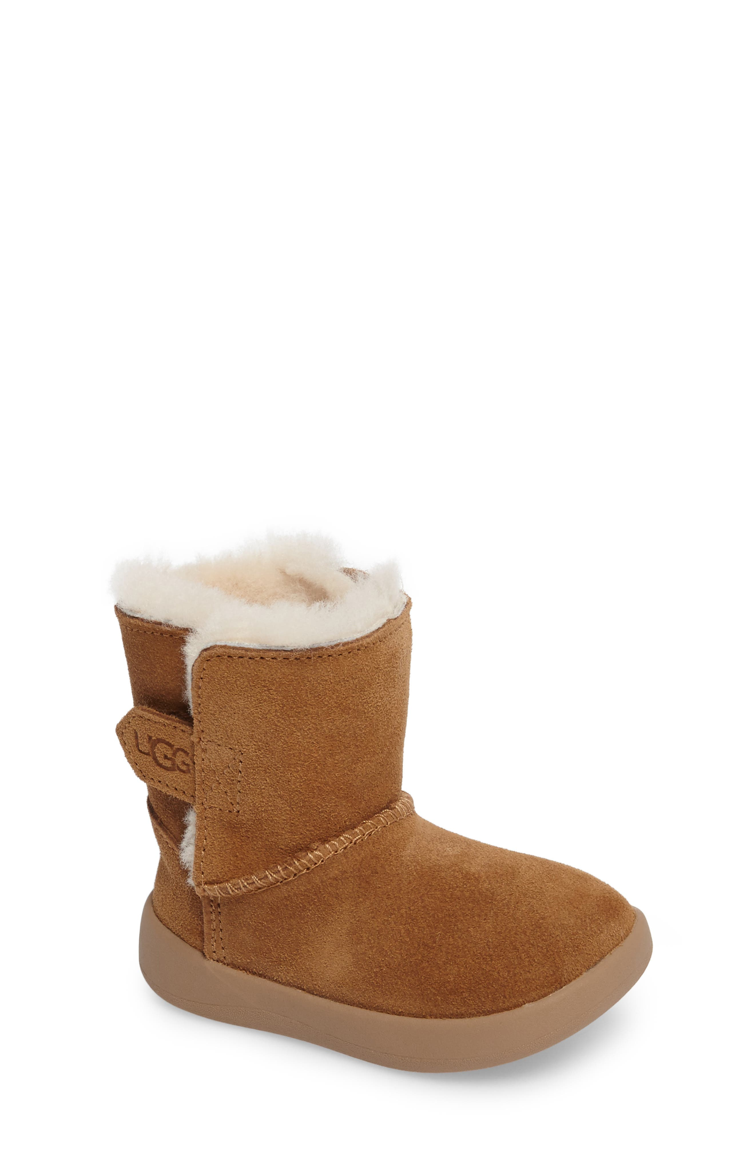 Keelan Genuine Shearling Baby Bootie,                             Main thumbnail 1, color,                             Chestnut Brown