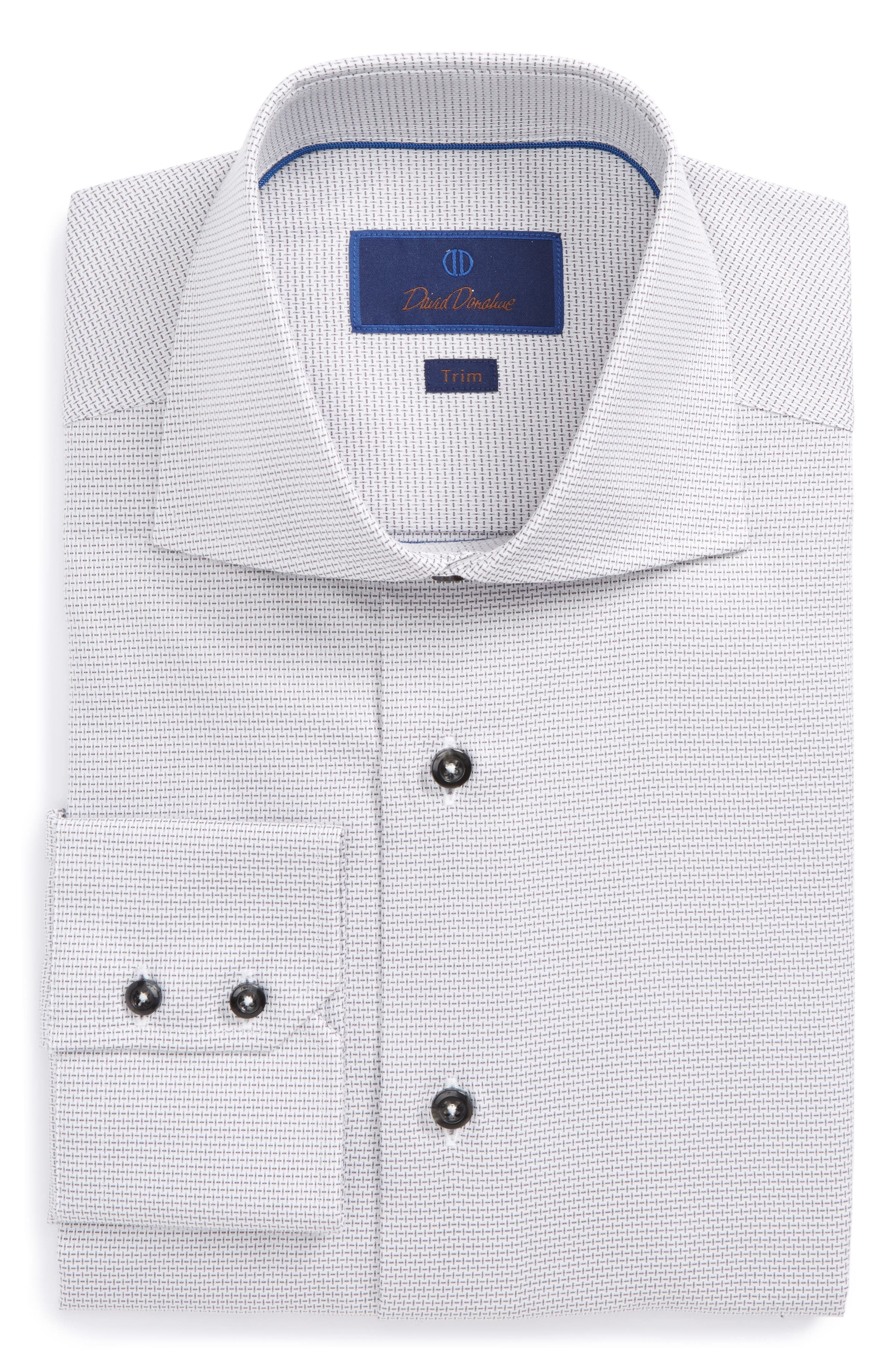 Main Image - David Donahue Trim Fit Patterned Dress Shirt