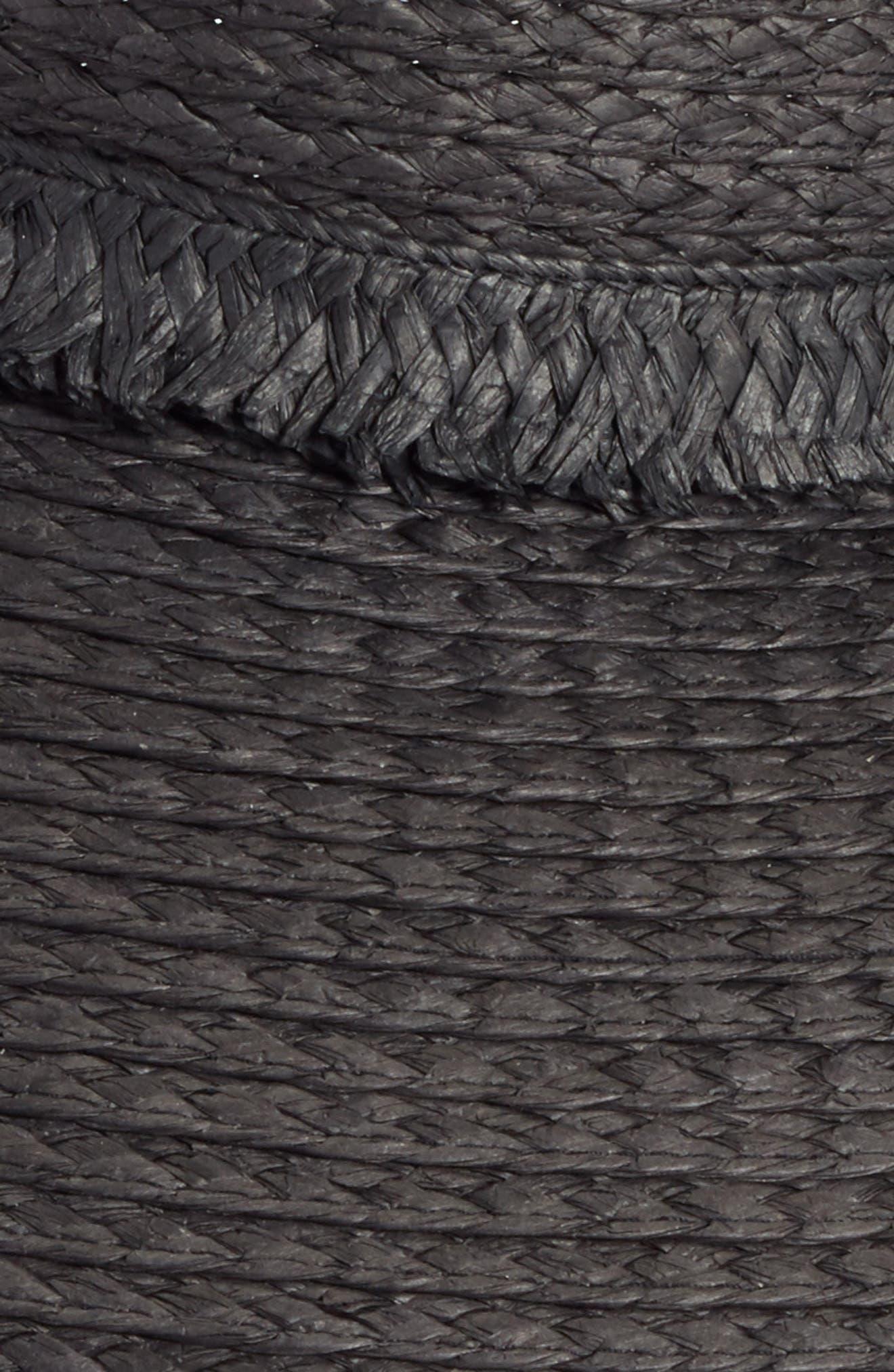 Fringed Straw Sun Visor,                             Alternate thumbnail 2, color,                             Black