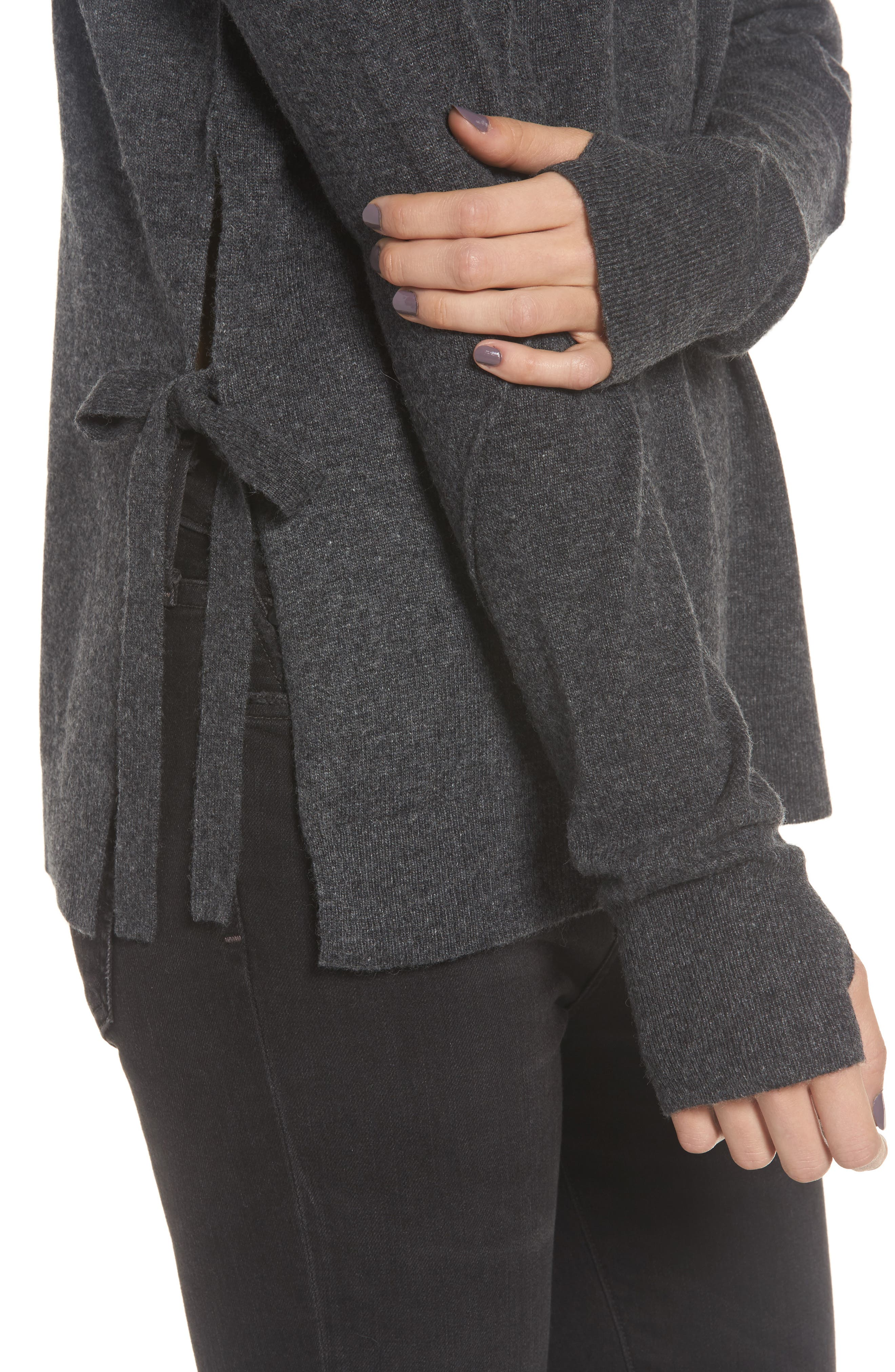 Dream Side Tie Sweater,                             Alternate thumbnail 4, color,                             Heather Grey