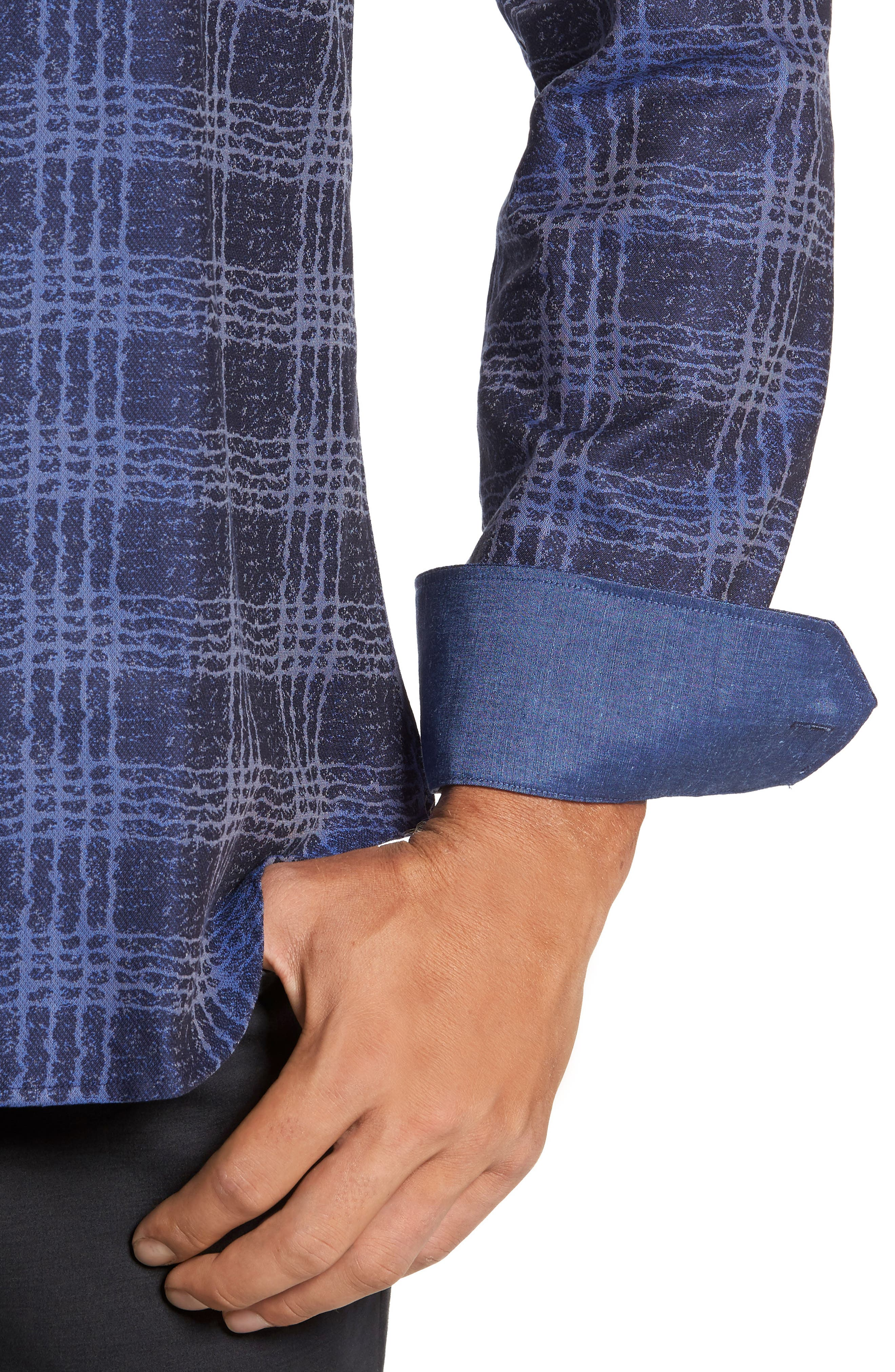 Shaped Fit Print Sport Shirt,                             Alternate thumbnail 4, color,                             Night Blue