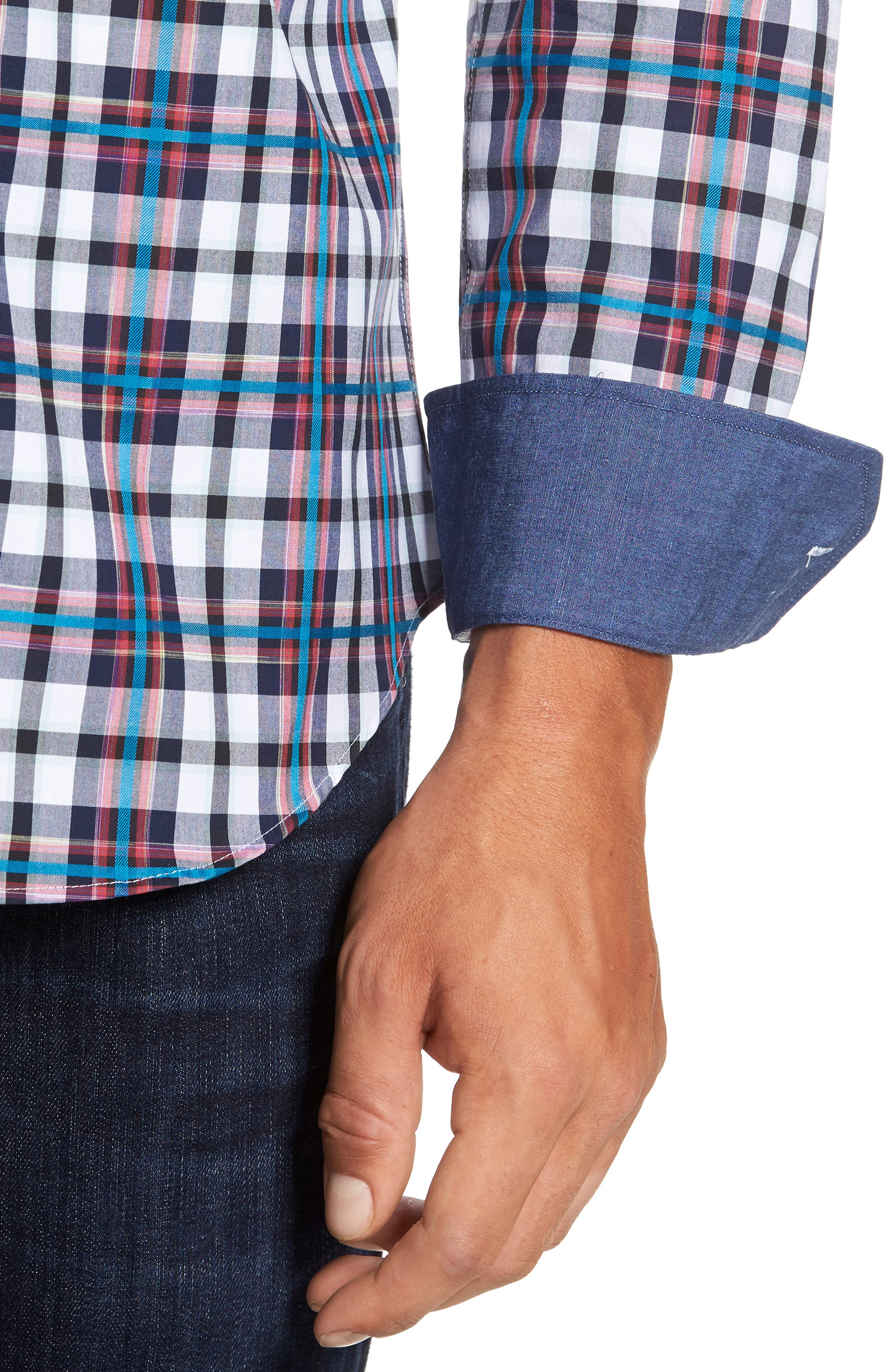 Alternate Image 4  - Bugatchi Shaped Fit Plaid Sport Shirt