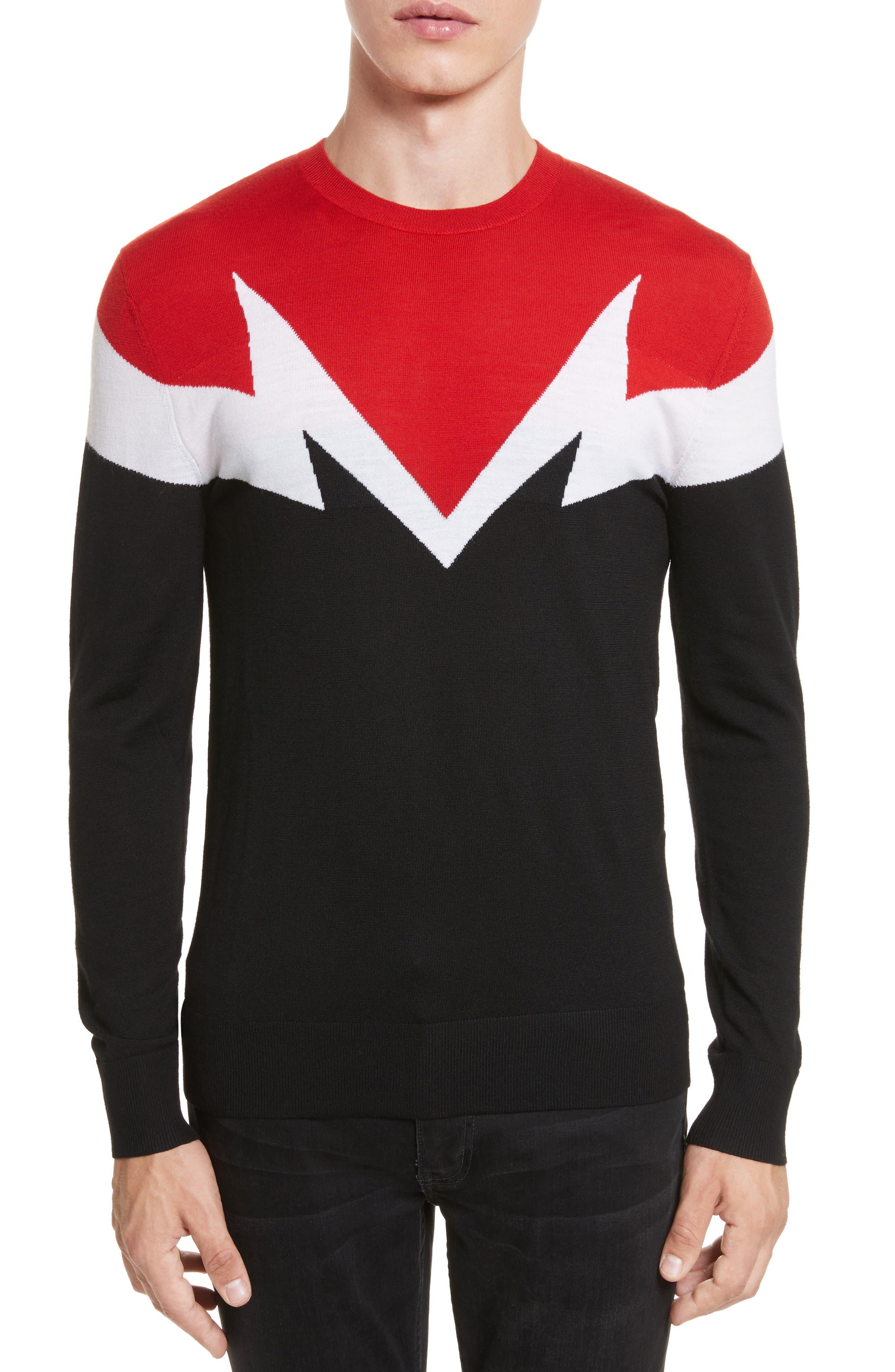 Main Image - Neil Barrett Colorblock Thunderbolt Merino Wool Sweater
