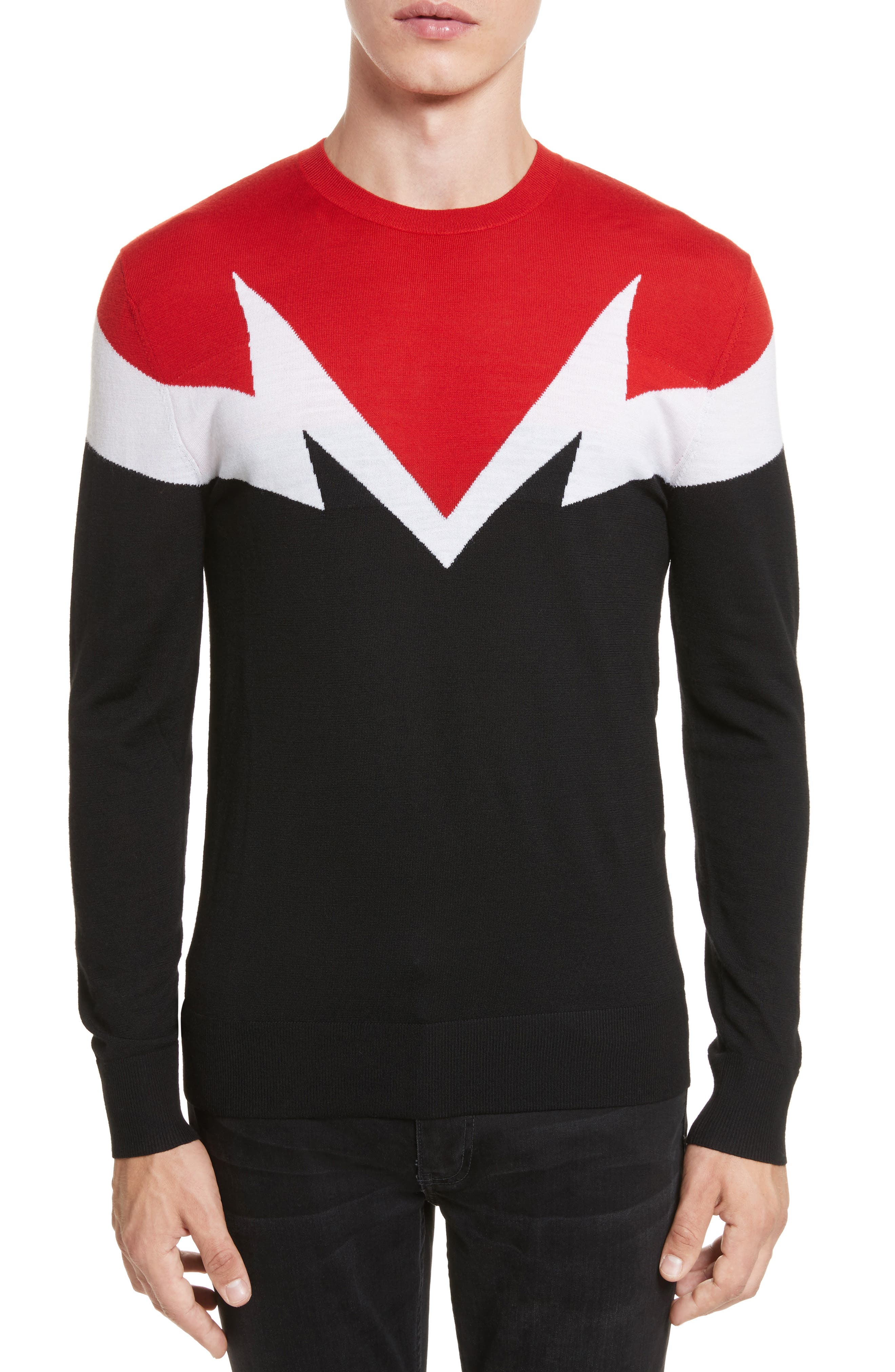 Neil Barrett Colorblock Thunderbolt Merino Wool Sweater