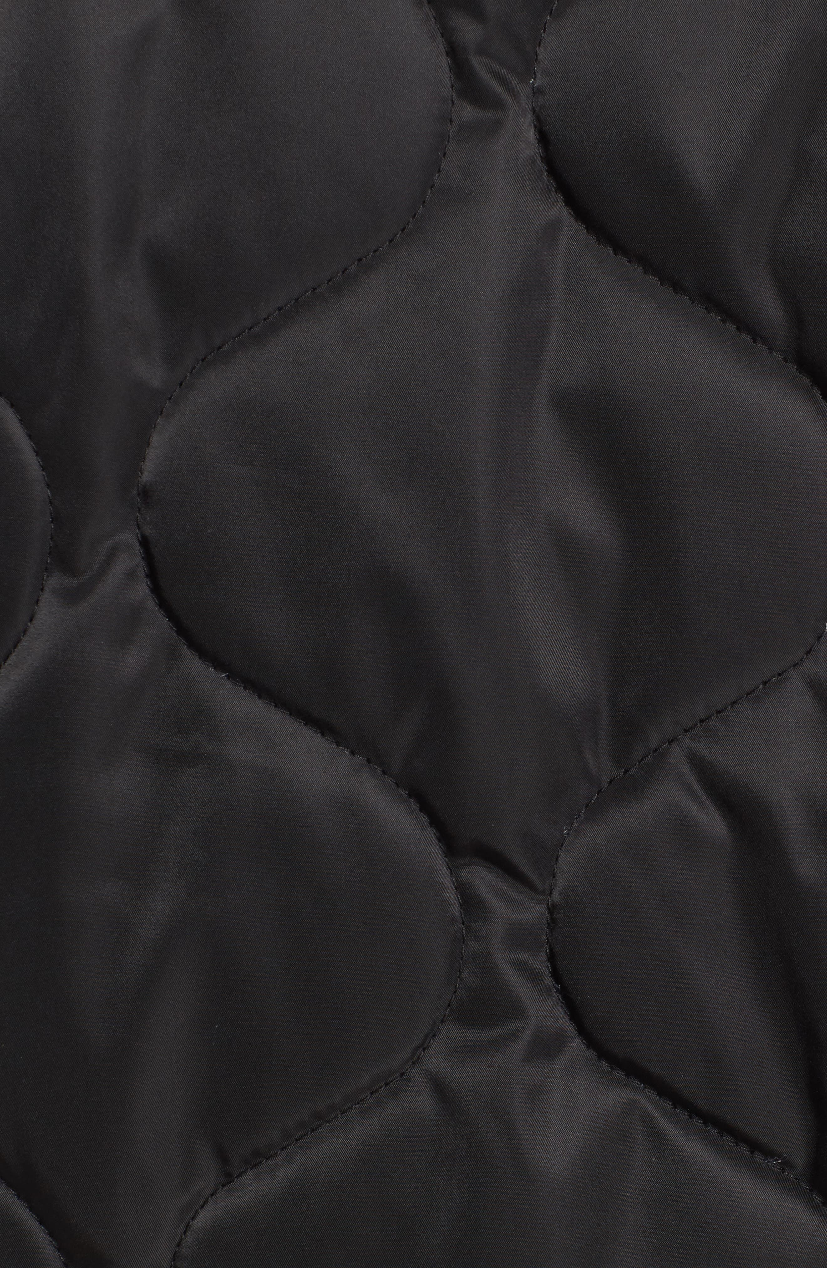 Quilted Bomber Jacket,                             Alternate thumbnail 5, color,                             Black