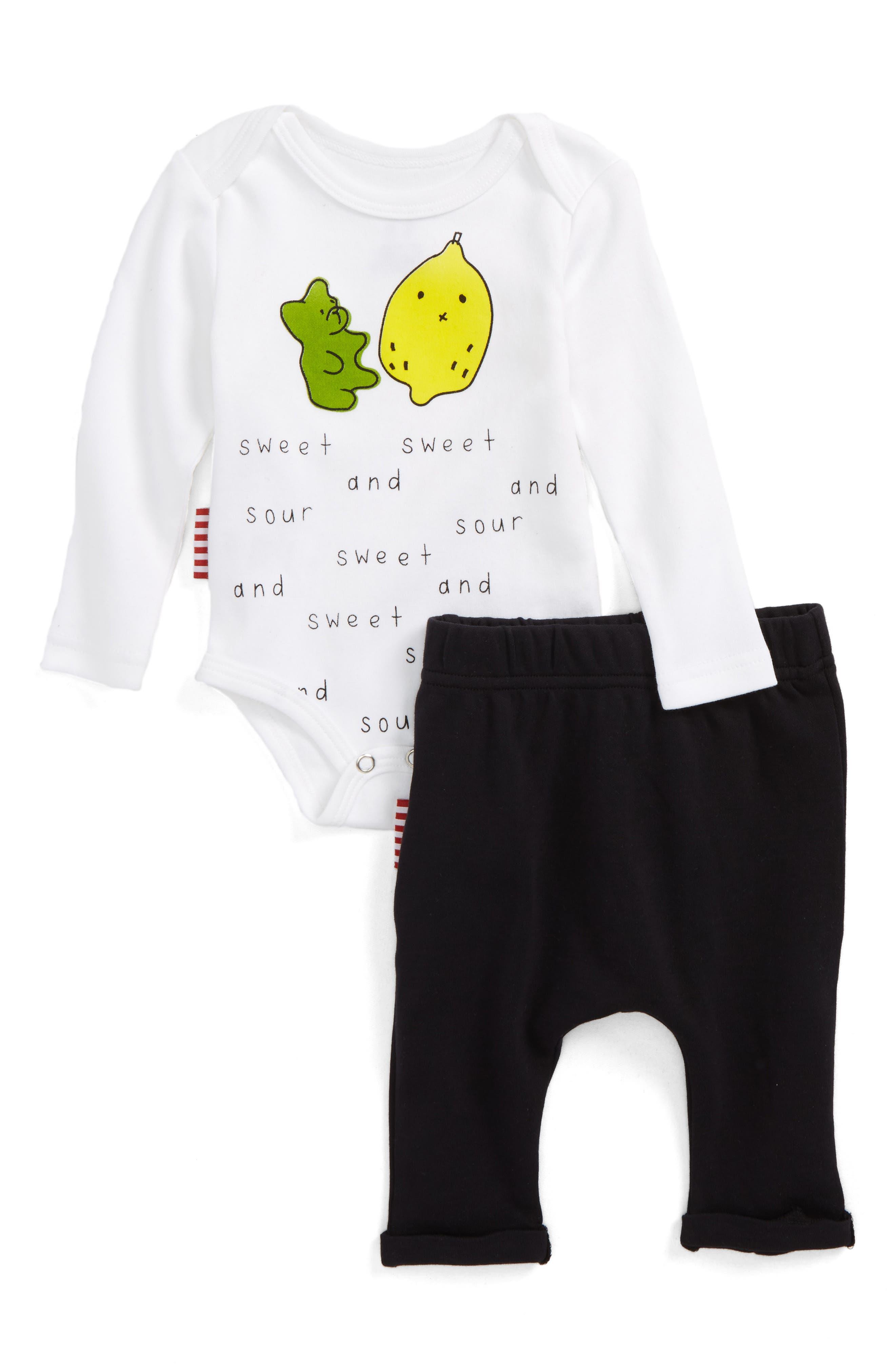 Sweet & Sour Bodysuit & Leggings Set,                             Main thumbnail 1, color,                             White And Black