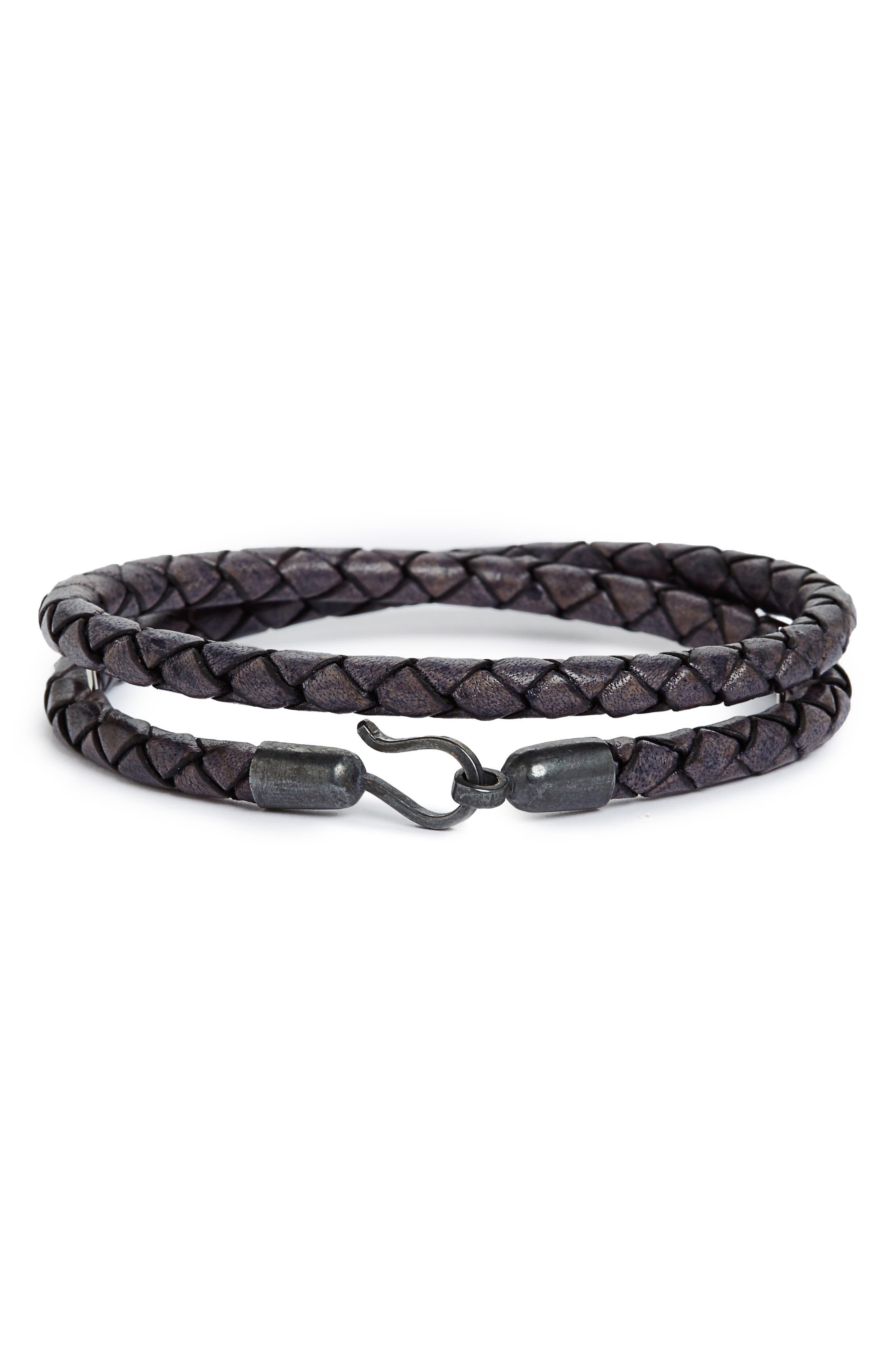 Braided Leather Double Wrap Bracelet,                         Main,                         color, Antique Navy