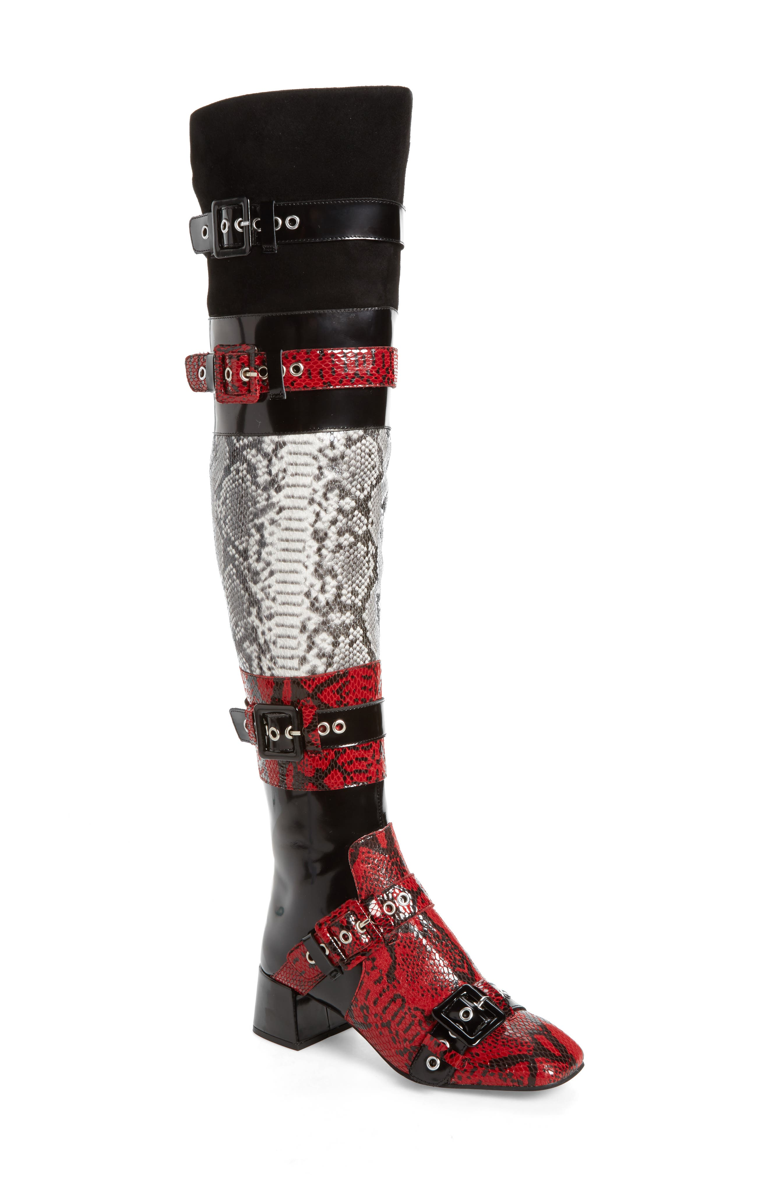 Ark Over the Knee Boot,                             Main thumbnail 1, color,                             Red-Black/ White Snake/ Multi